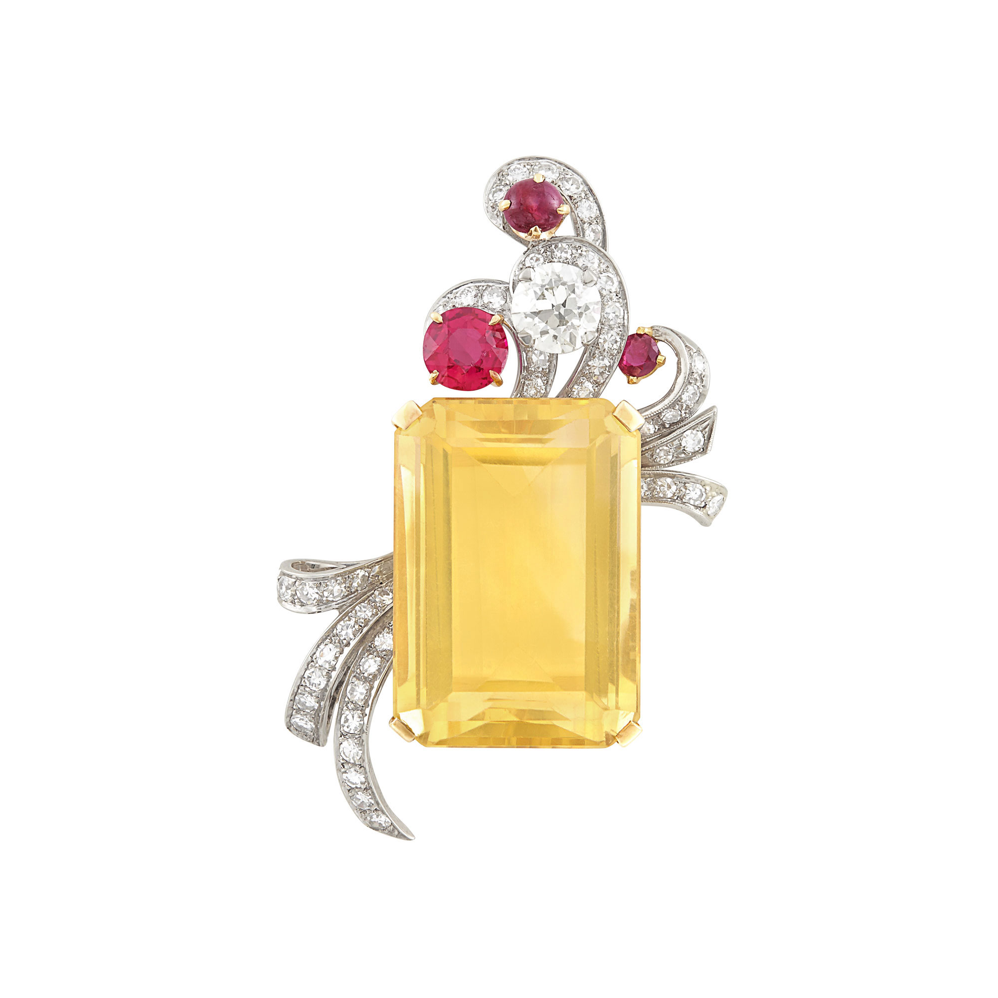 Lot image - Gold, Palladium, Citrine, Synthetic Ruby, Ruby and Diamond Brooch