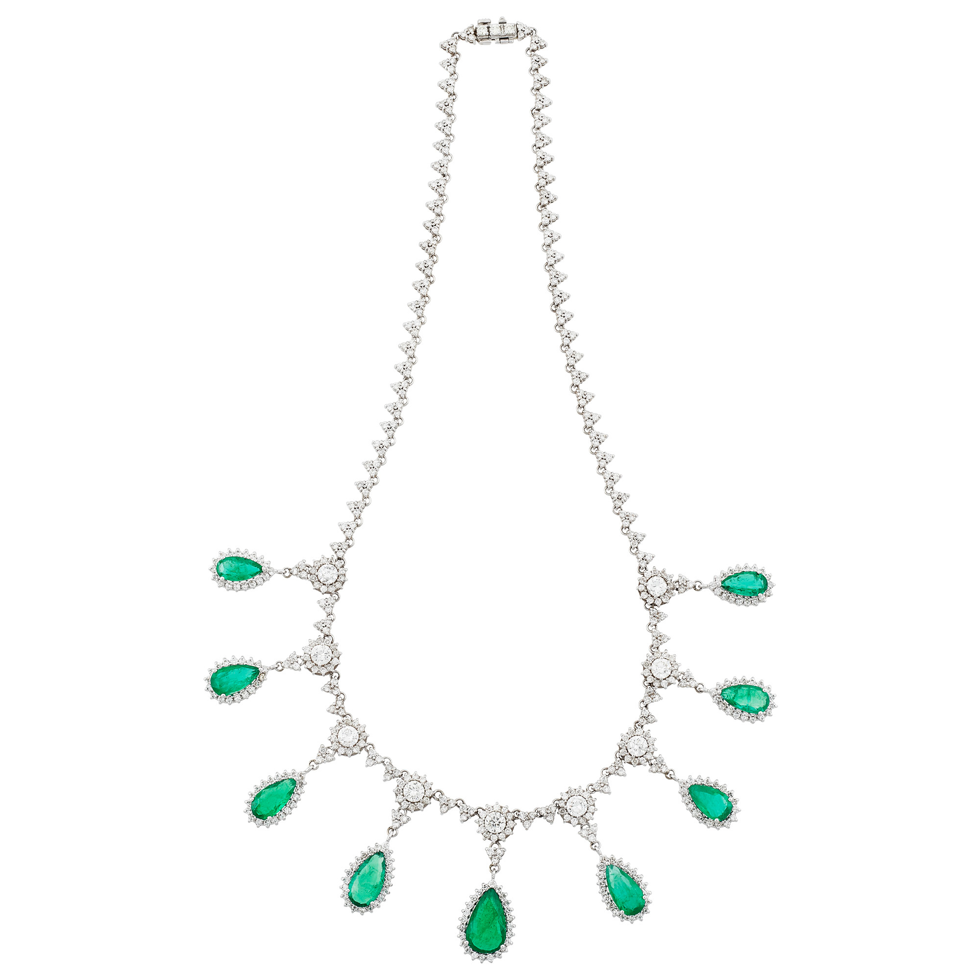 Lot image - White Gold, Emerald and Diamond Necklace