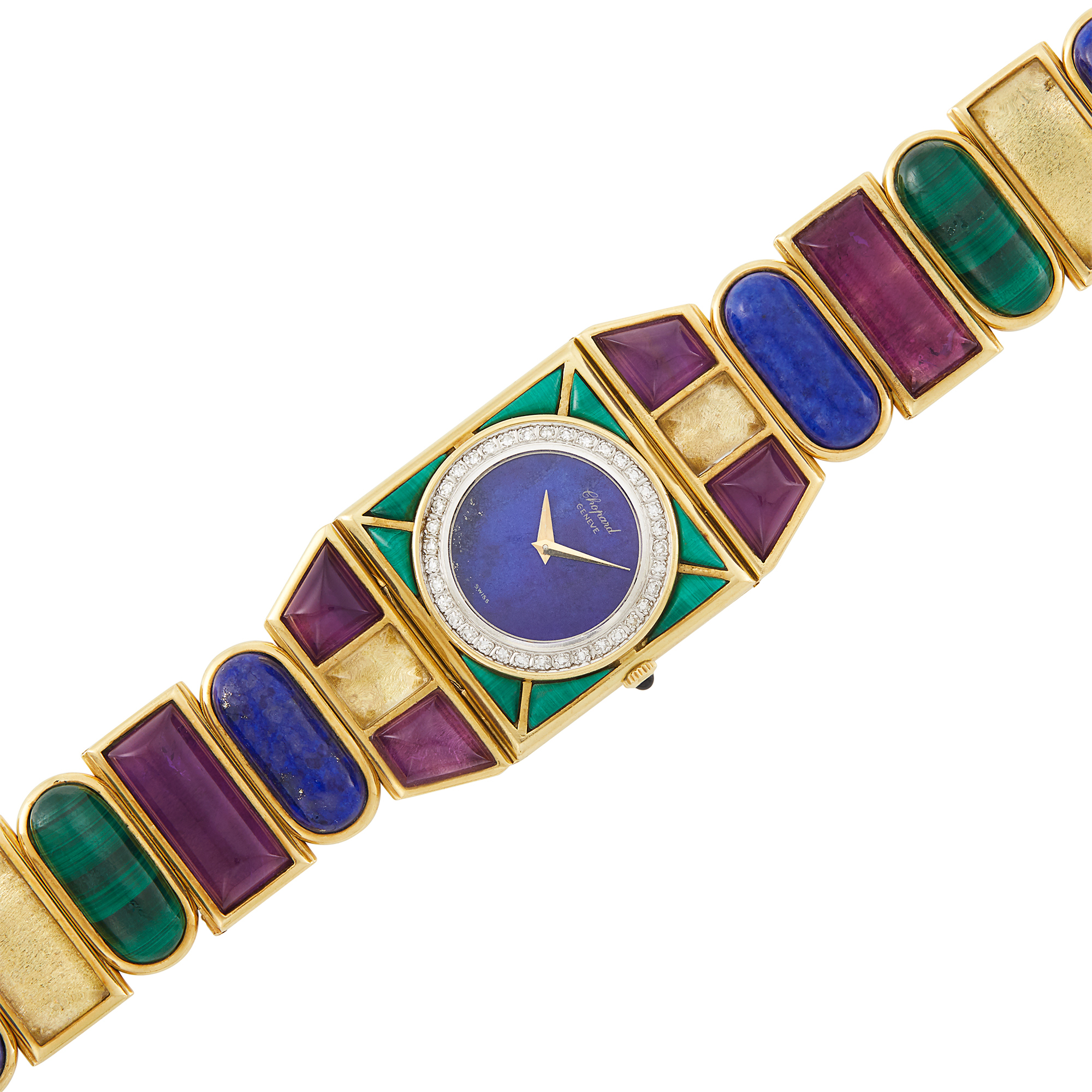 Lot image - Gold, Amethyst, Malachite, Citrine, Lapis and Diamond Wristwatch, Chopard