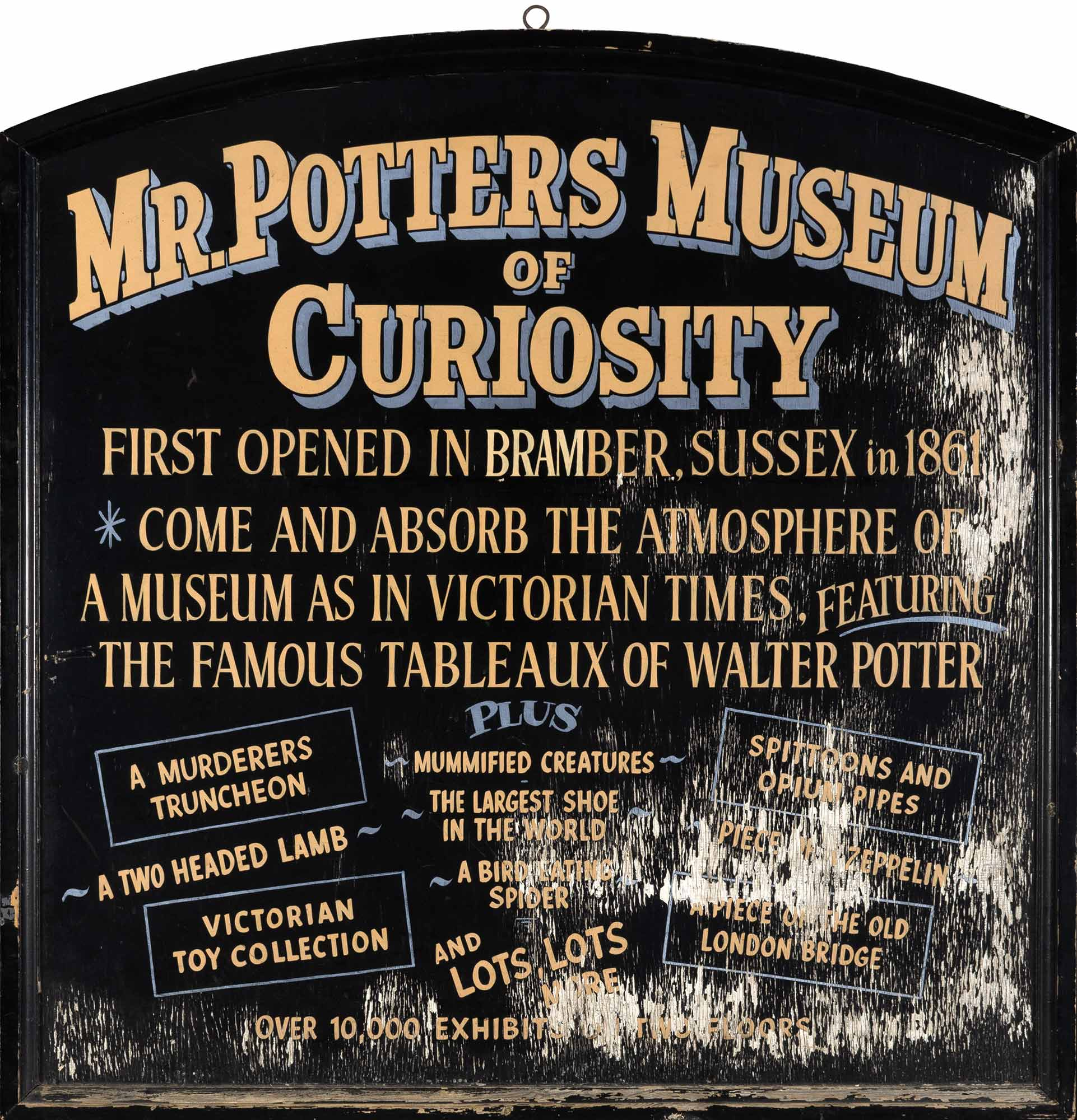 Lot image - Walter Potters Museum of Curiosities Sign