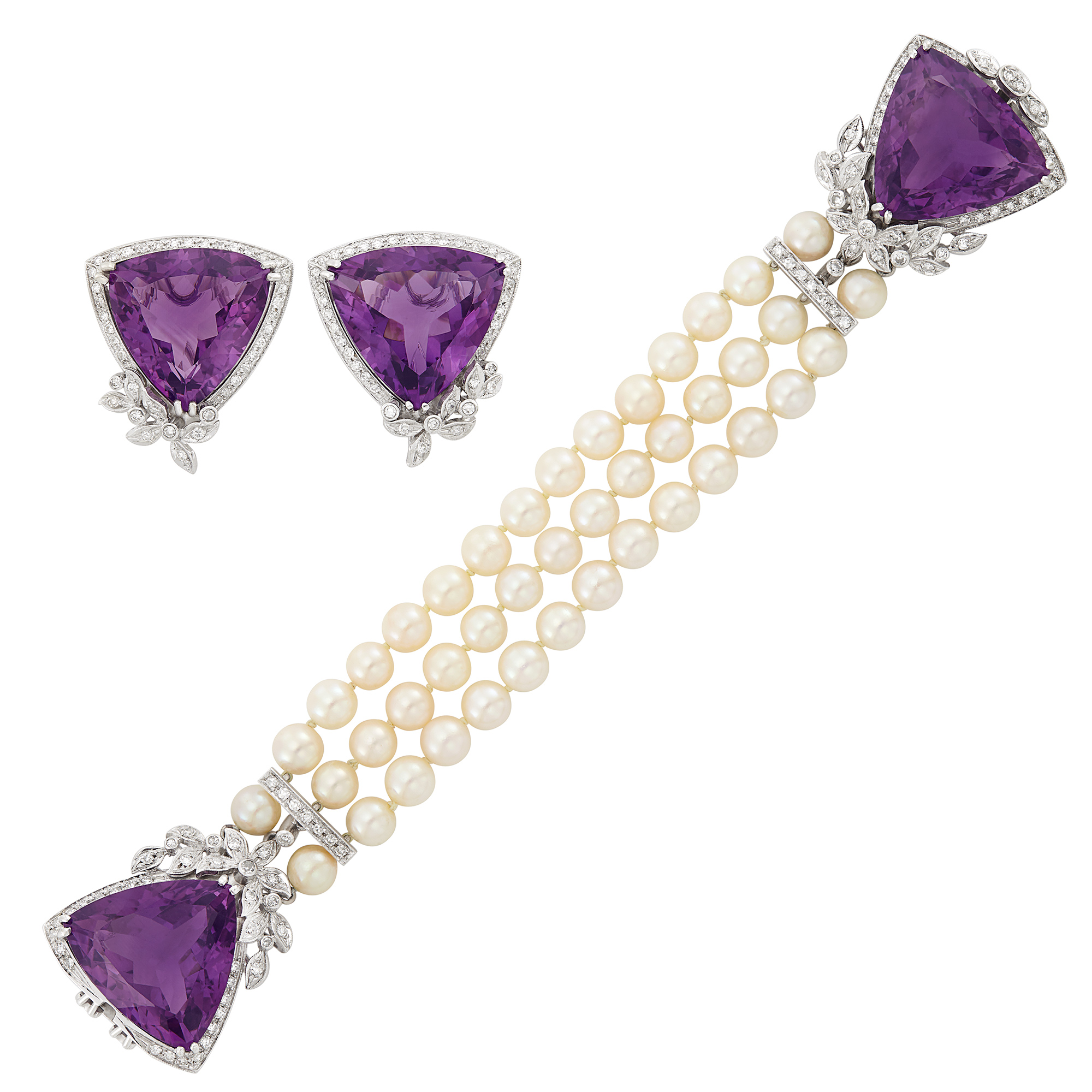 Lot image - Triple Strand Cultured Pearl, White Gold, Amethyst and Diamond Bracelet and Pair of Earclips