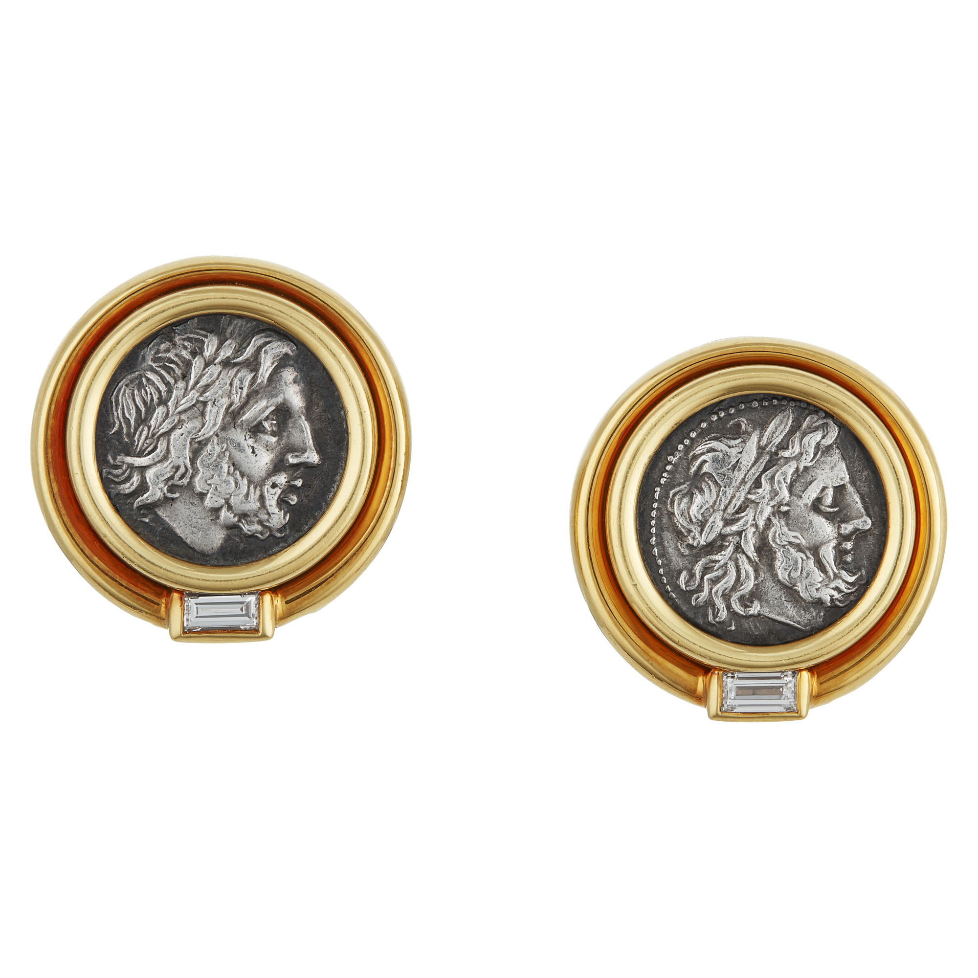 Lot image - Gold and Silver Coin, Diamond Earclips, Bulgari