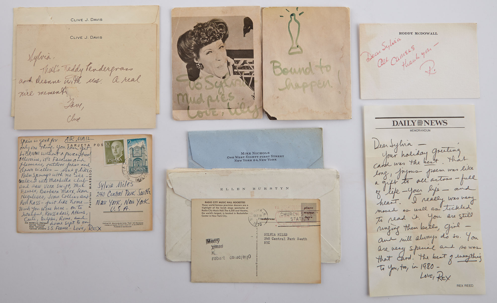 Lot image - [POSTCARDS AND CORRESPONDENCE]  Group of postcards, notes, and other correspondence sent to Sylvia Miles.