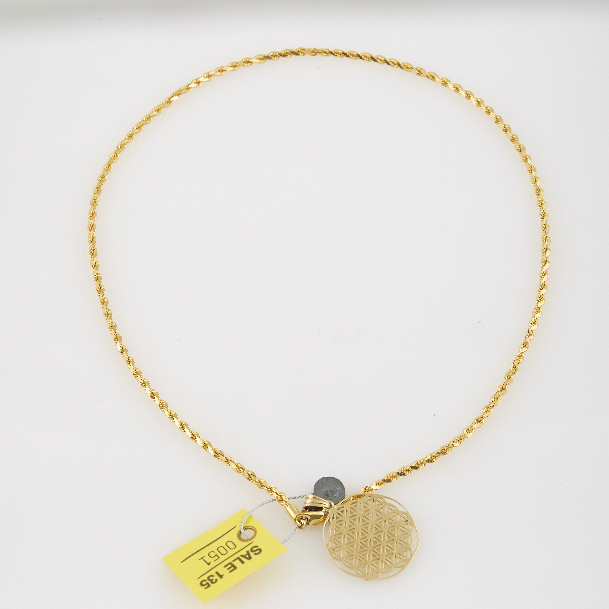 Lot image - Diamond Pendant, 13 diamonds and Gold Neck Chain, 18K 25 dwt.