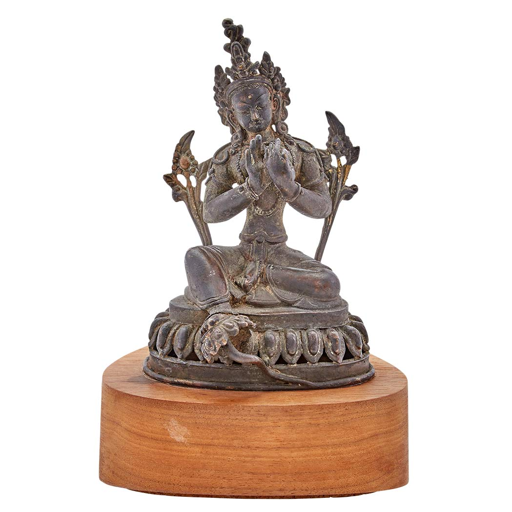 Lot image - Nepalese Copper Alloy Figure of Green Tara