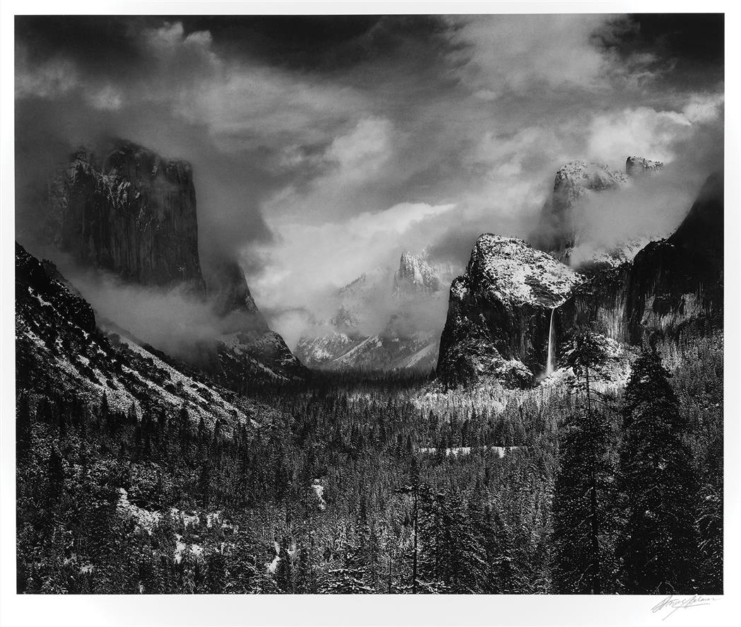 Lot image - ADAMS, ANSEL (1902-1984)  Clearing Winter Storm, Yosemite Valley, California, 1944.
