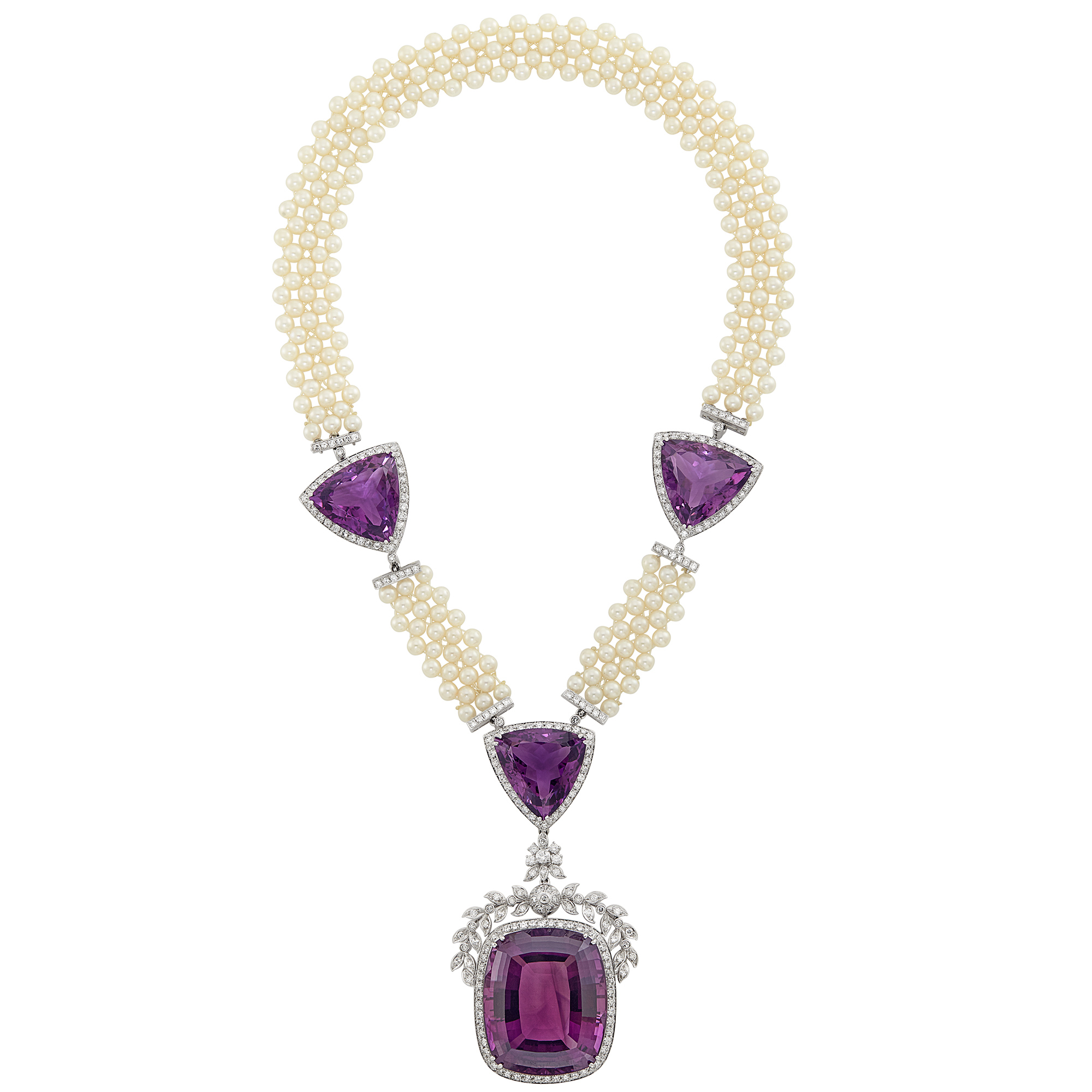 Lot image - White Gold, Amethyst, Cultured Pearl and Diamond Pendant-Necklace