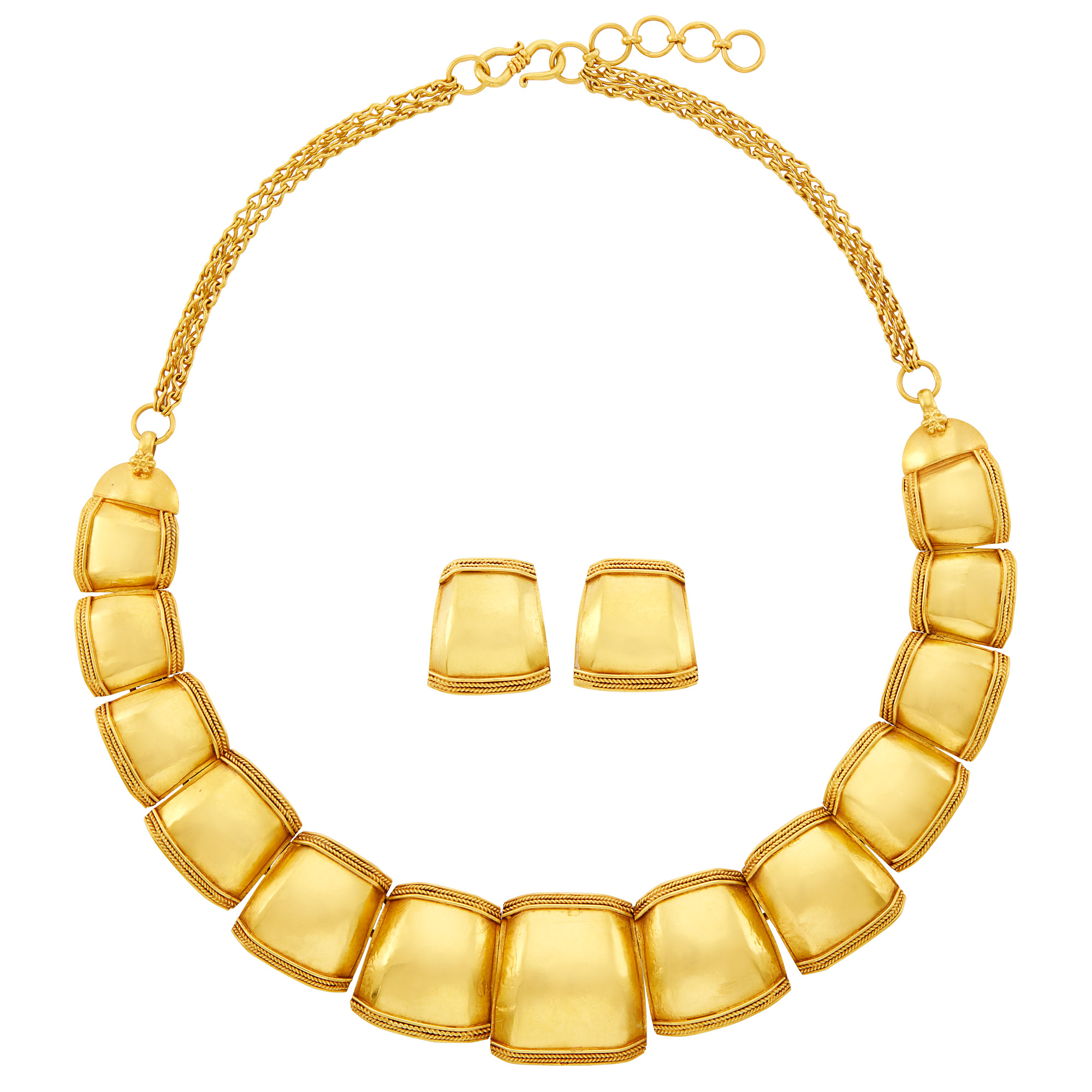Lot image - Gold Necklace with Double Strand Chain and Pair of Earrings