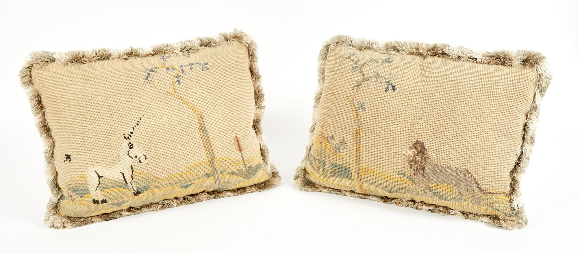 Lot image - Pair of Needlework-Upholstered Cushions