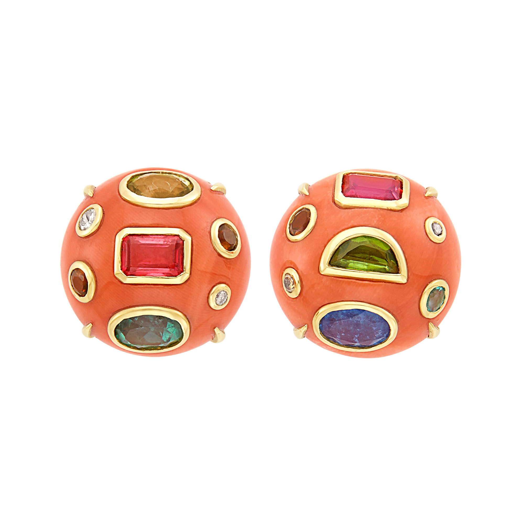 Lot image - Pair of Gold, Coral, Gem-Set and Colored Diamond Earclips