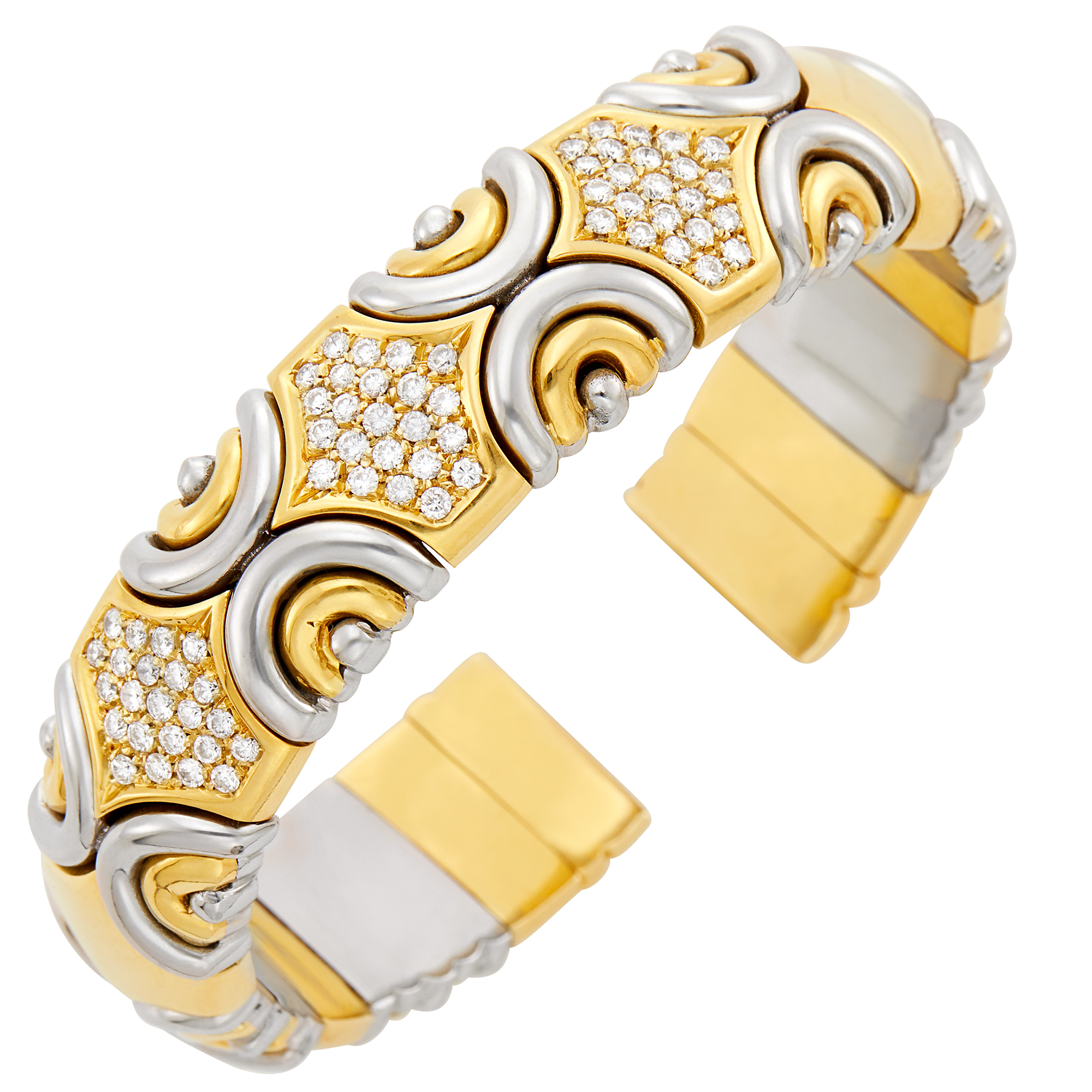 Lot image - Fred Gold, Stainless Steel and Diamond Bangle Bracelet