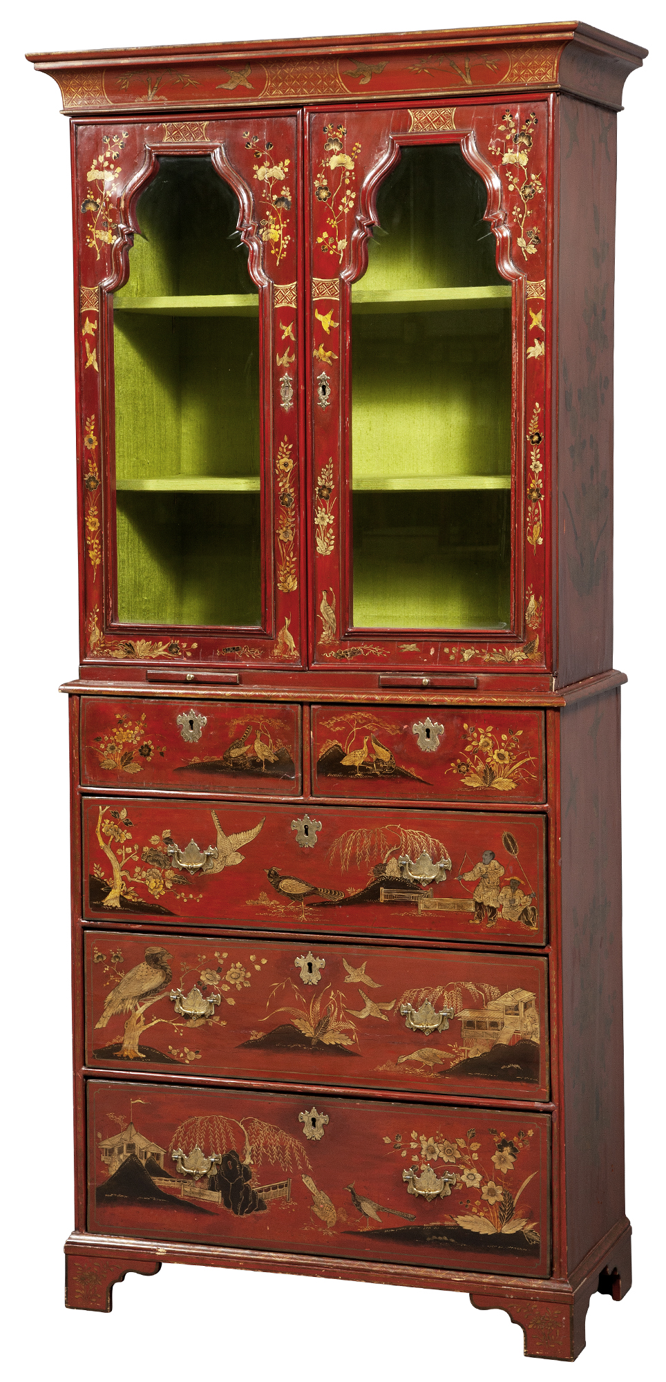 Lot image - Queen Anne Red-Japanned and Parcel-Gilt Cabinet on Chest