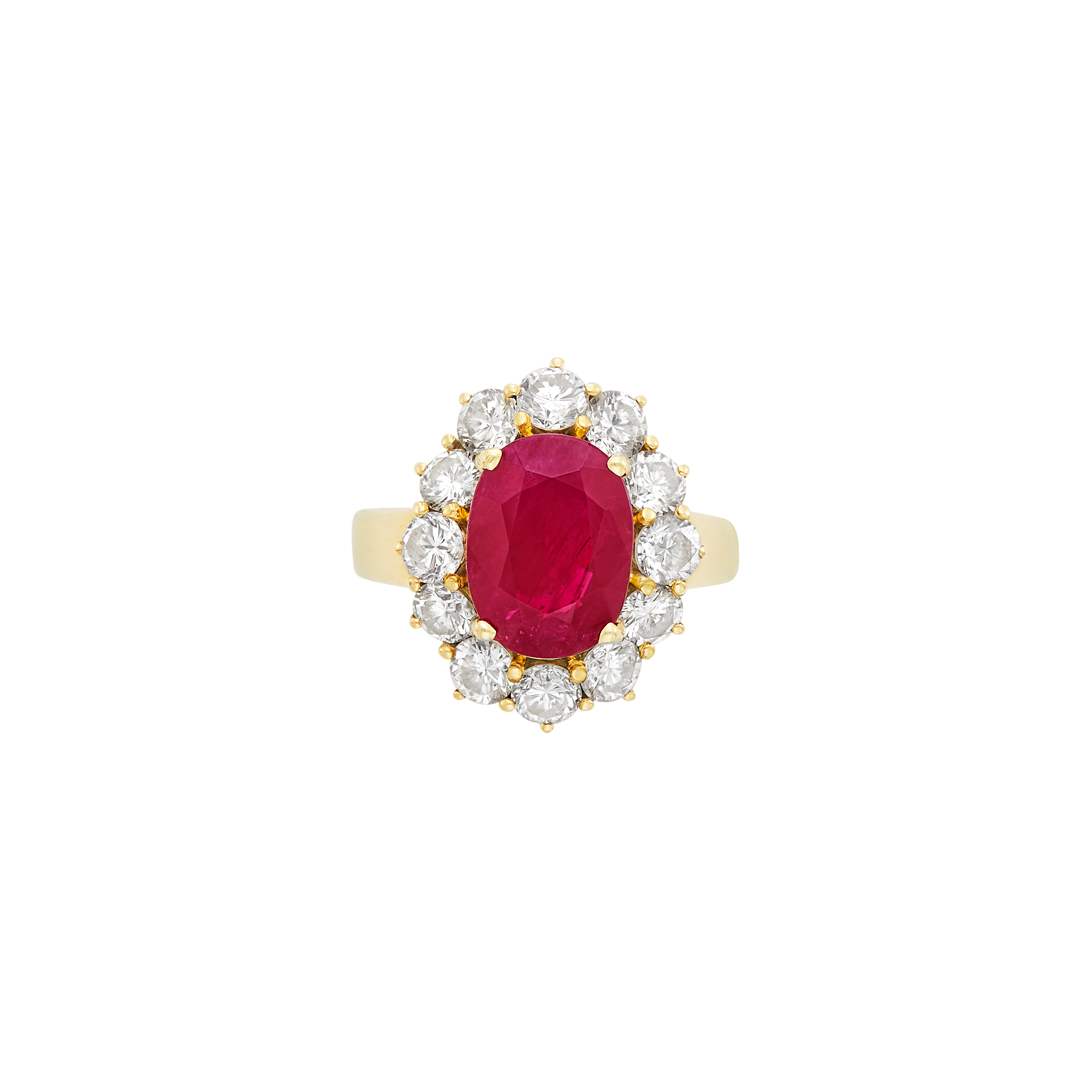 Lot image - Gold, Ruby and Diamond Ring