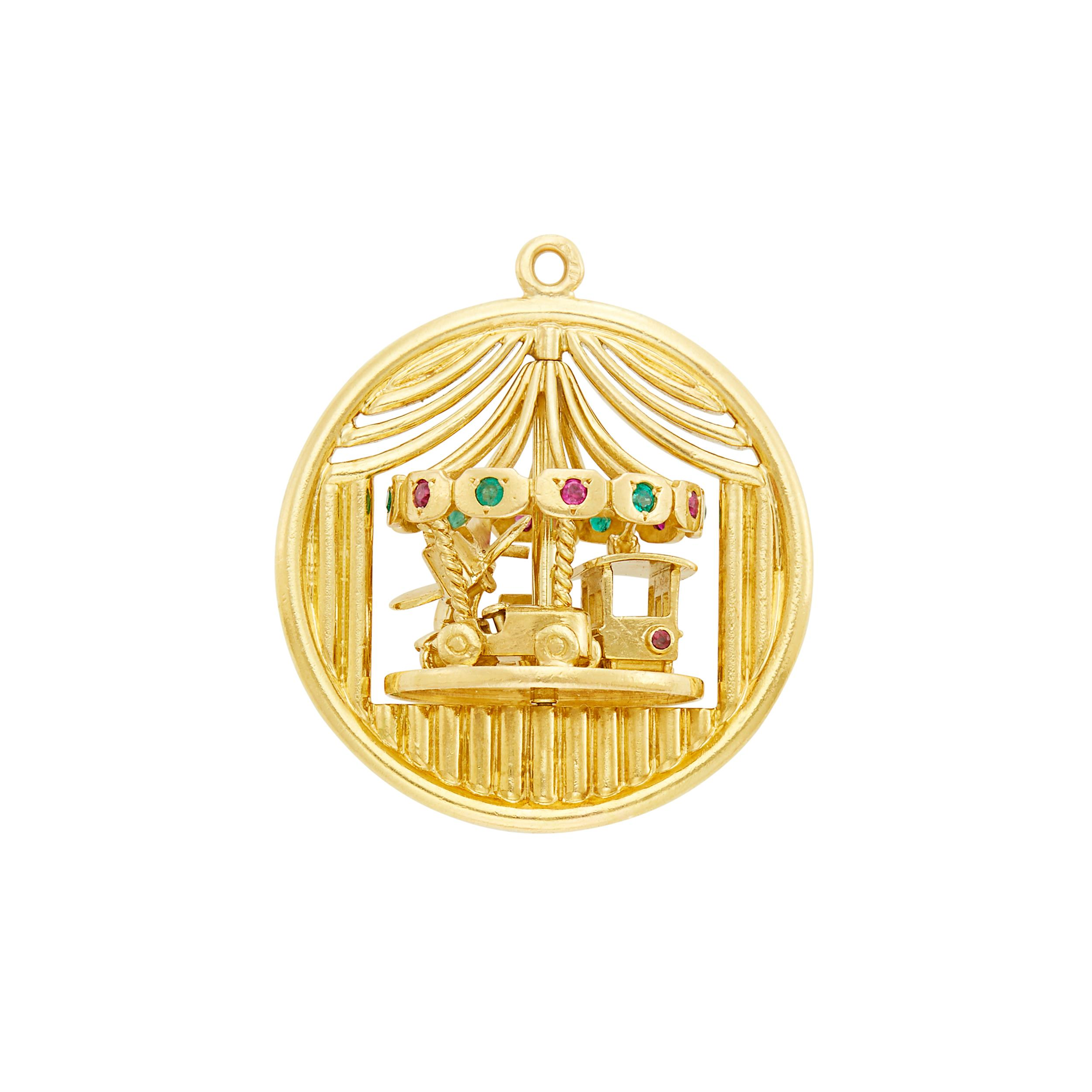 Lot image - Van Cleef & Arpels Gold, Ruby and Emerald Carousel Charm, France