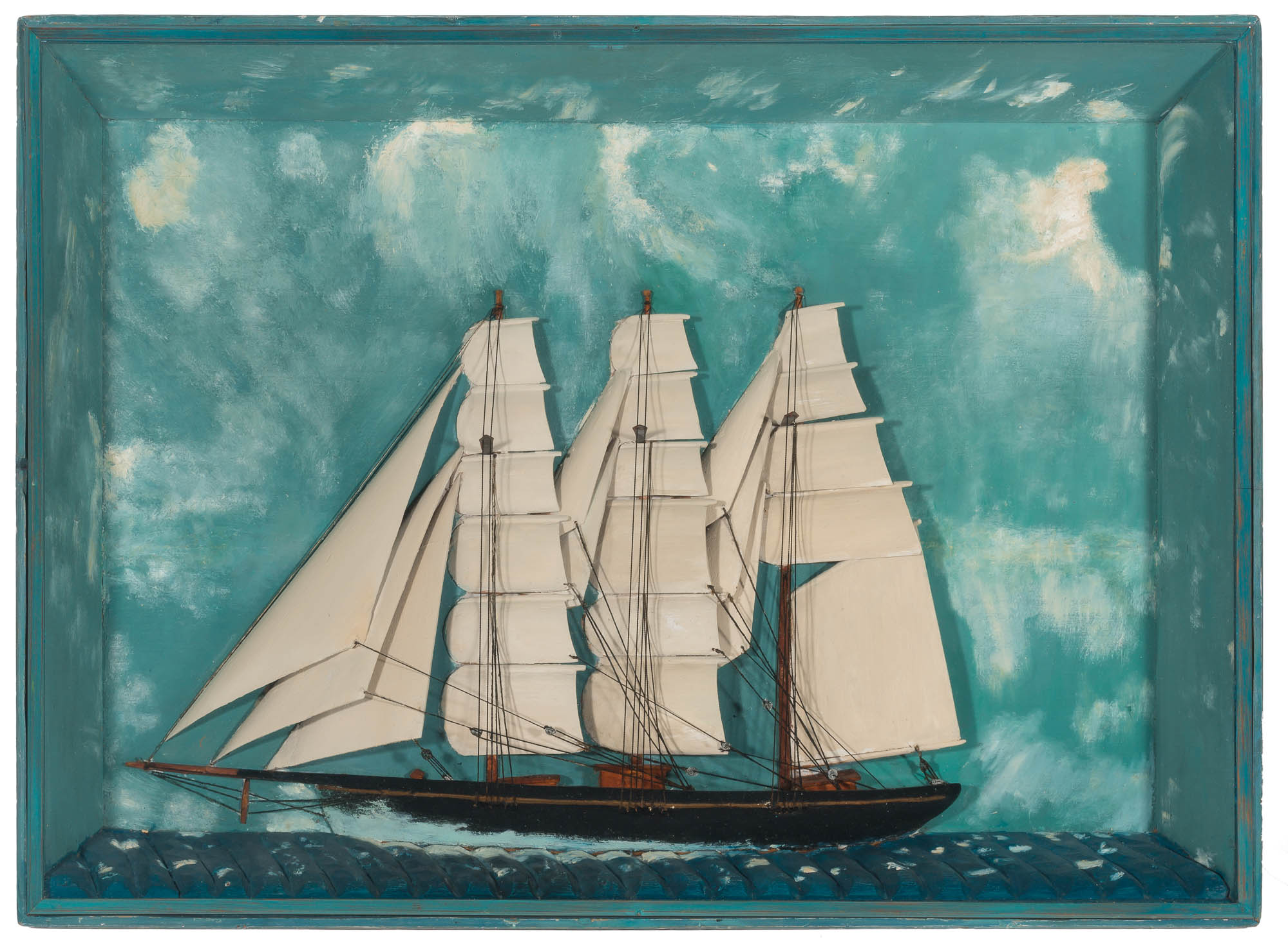 Lot image - Carved and Painted Ship Diorama of a Three-Masted Sailing Vessel