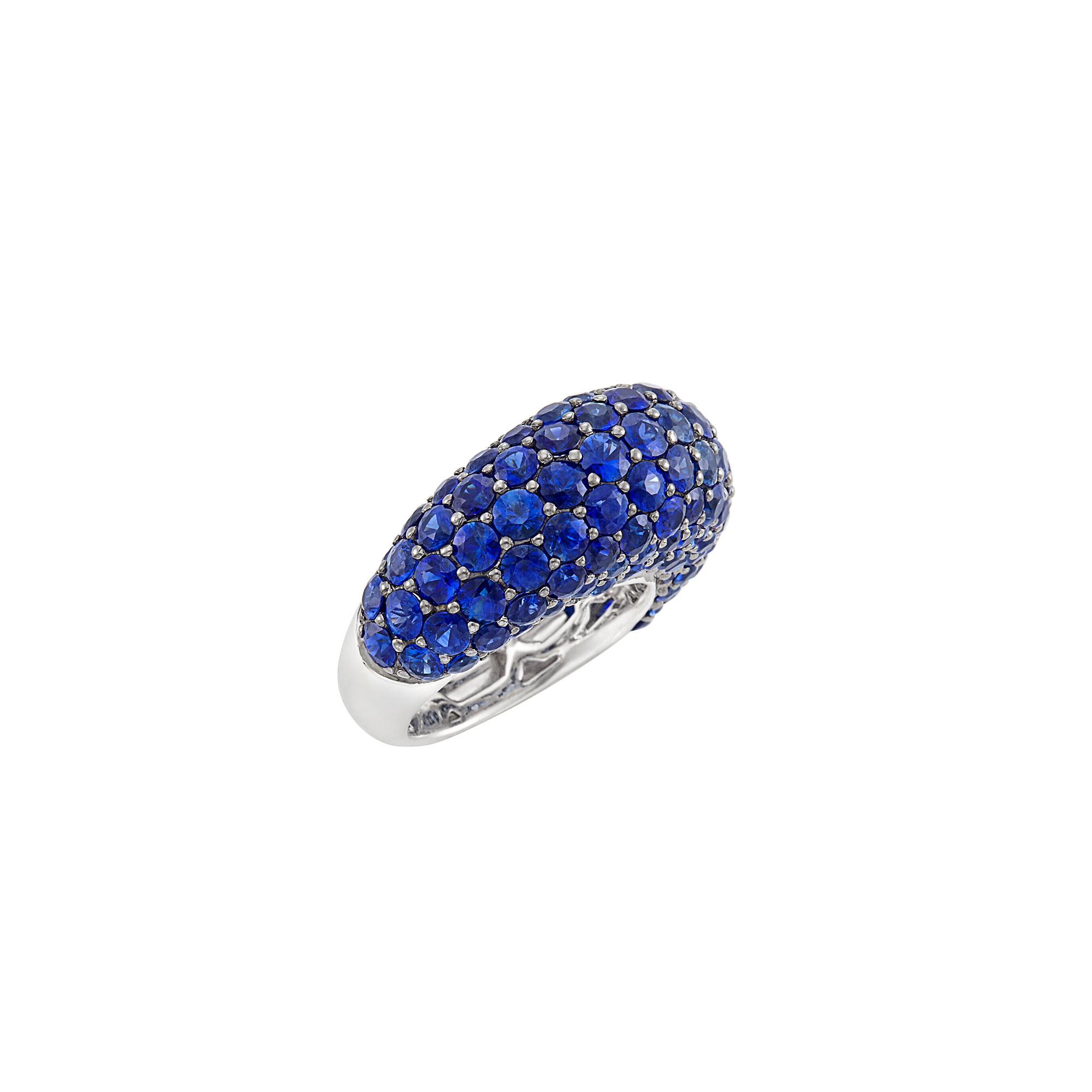 Lot image - White Gold and Sapphire Bombé Ring, Piranesi