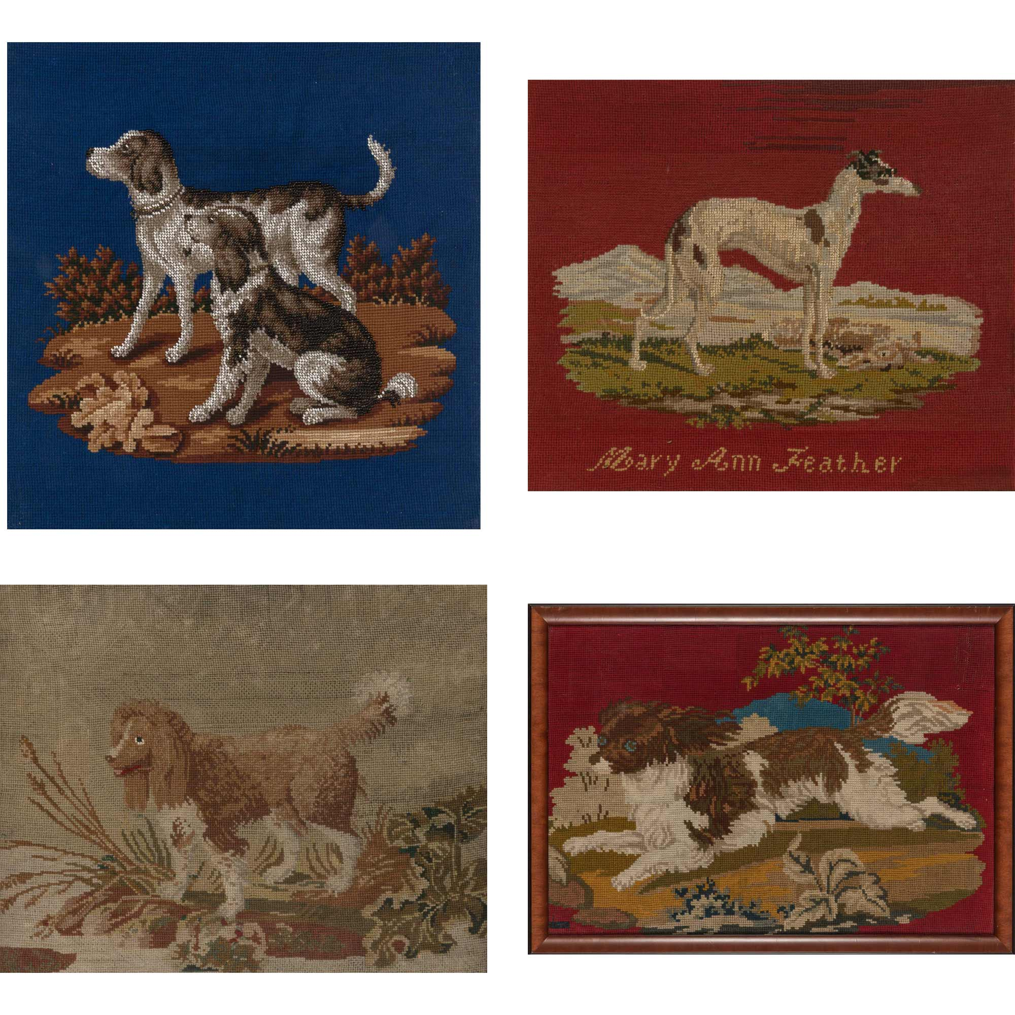 Lot image - Group of Four Framed Needlework Pictures of Dogs