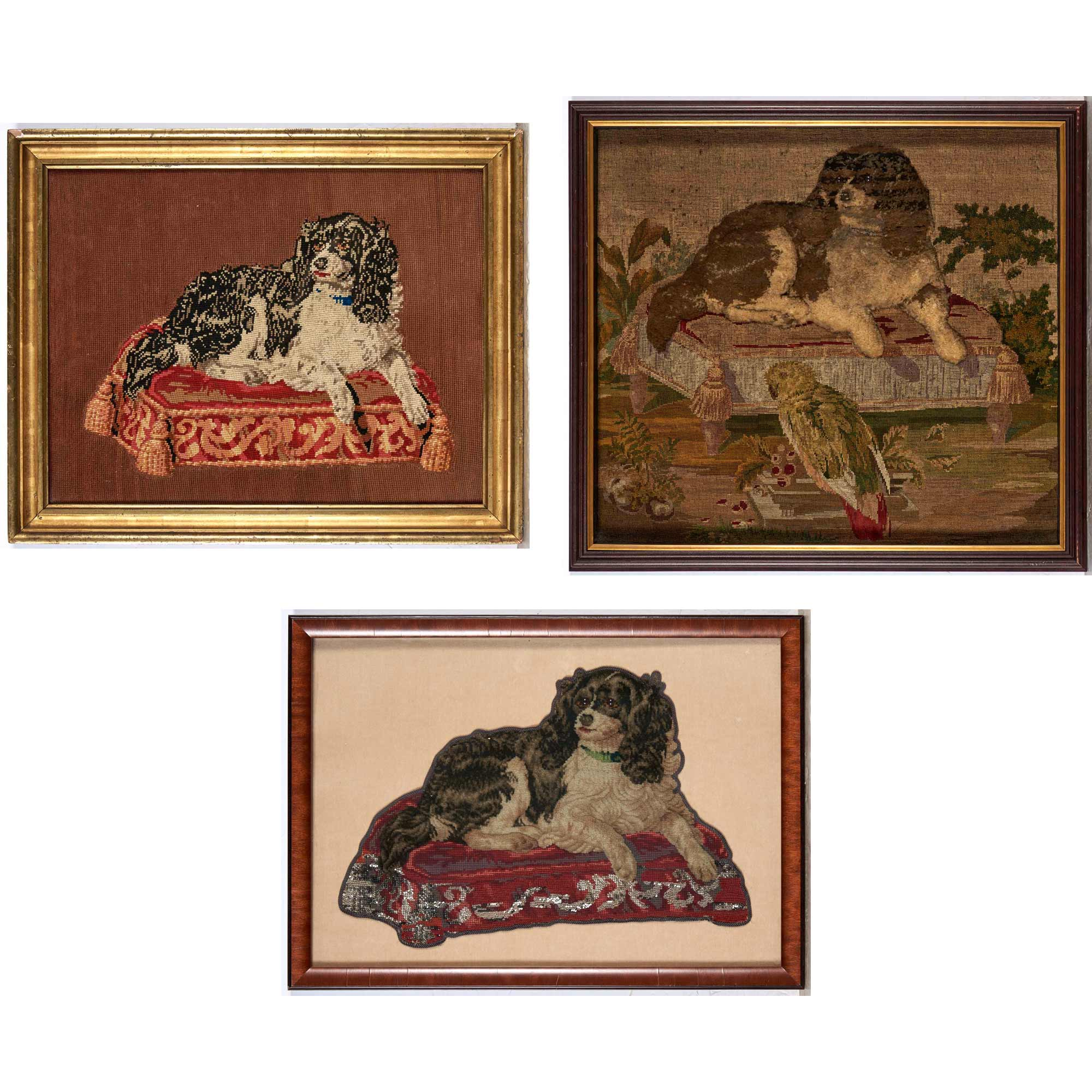 Lot image - Three Framed Needlework Pictures of Spaniels on Stools
