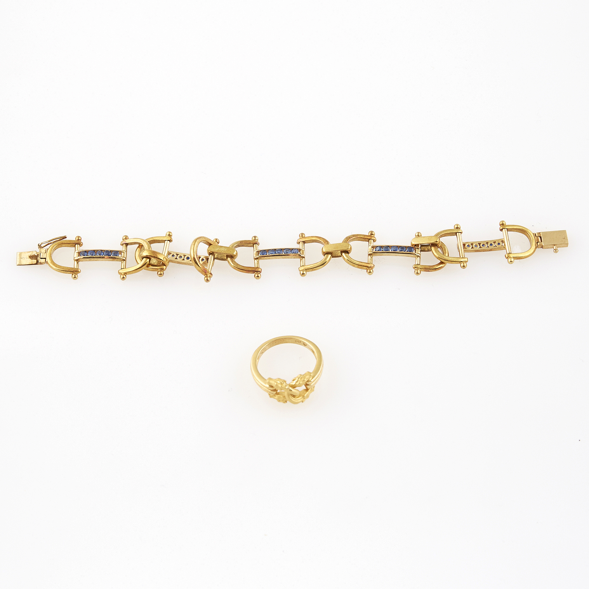 Lot image - Gold and Stone Flexible Bracelet and Ring, 18K 17 dwt. all