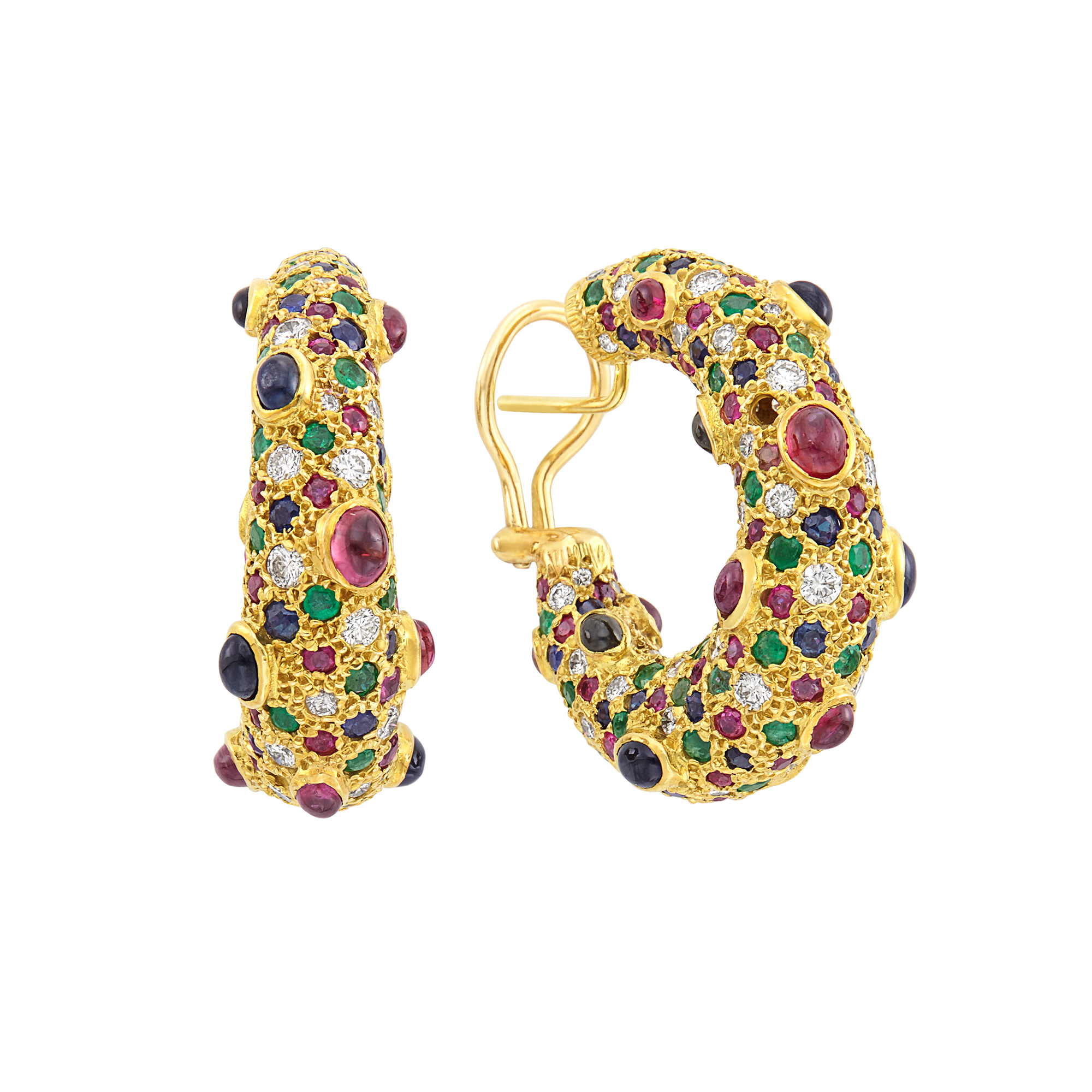 Lot image - Pair of Gold, Diamond and Gem-Set Hoop Earrings