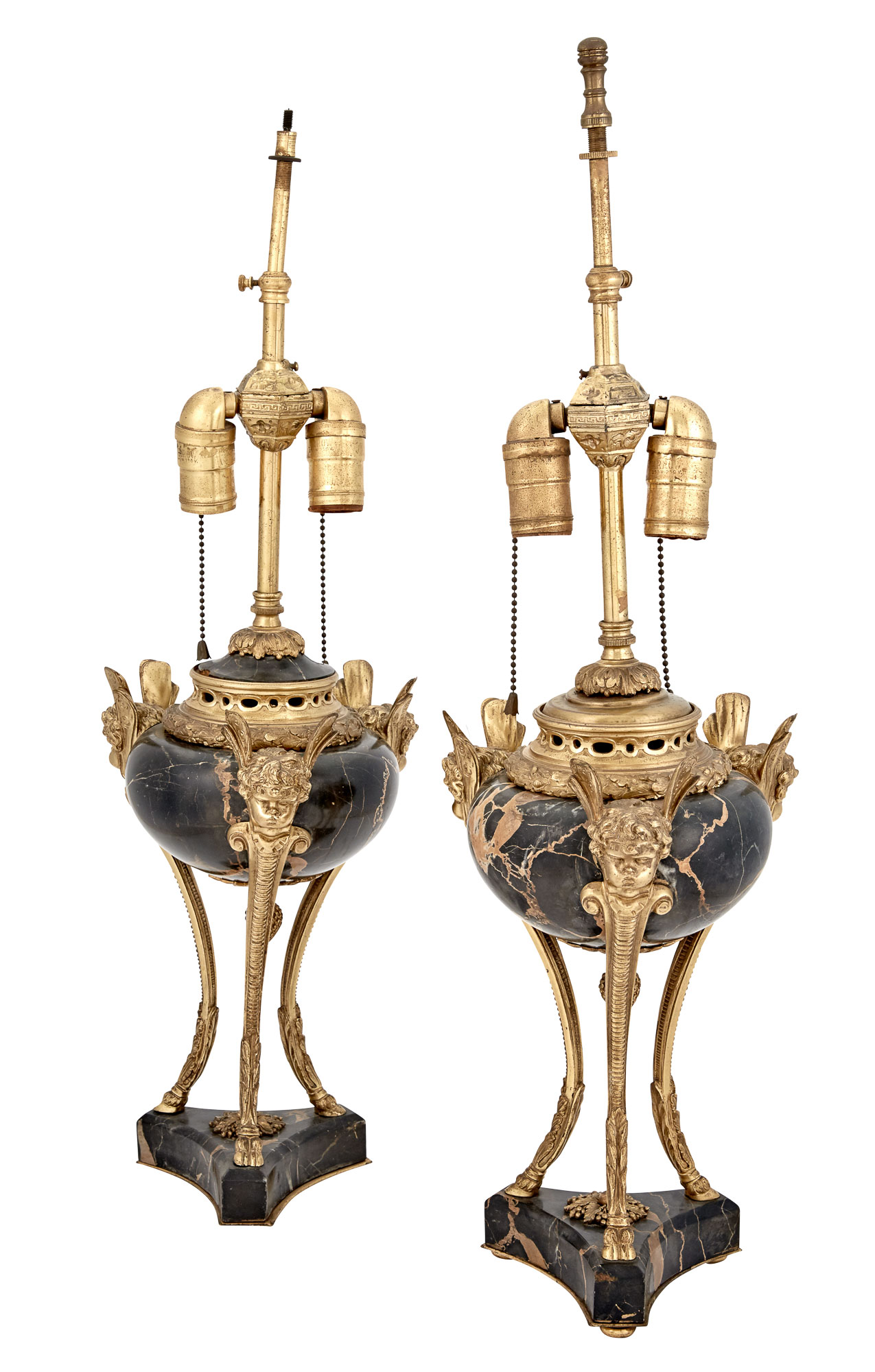 Lot image - Pair of Louis XVI Style Gilt-Bronze and Marble Covered Urns as Lamps