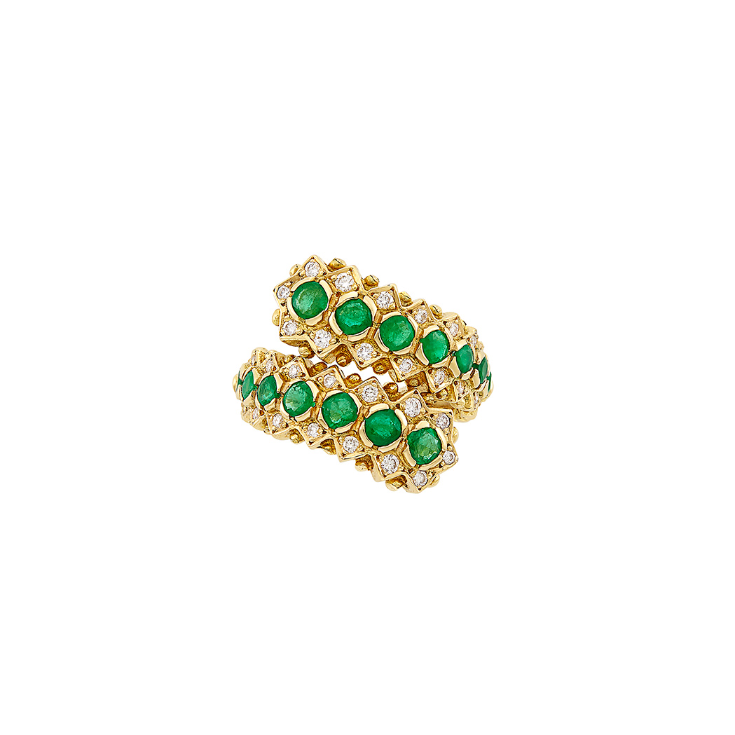 Lot image - Gold, Emerald and Diamond Crossover Ring, Ilias Lalaounis