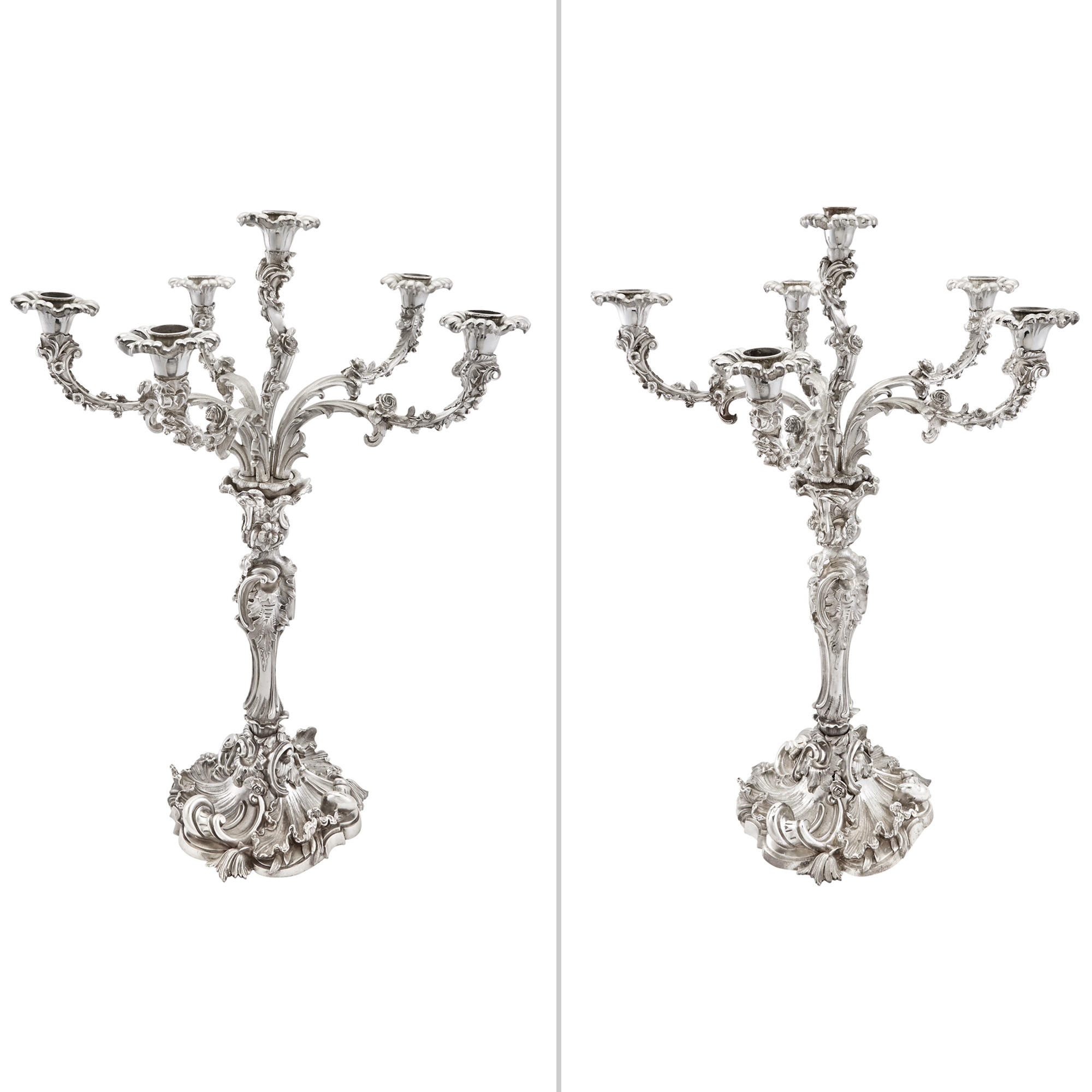 Lot image - Pair of English Silver Plated Six-Light Candelabra