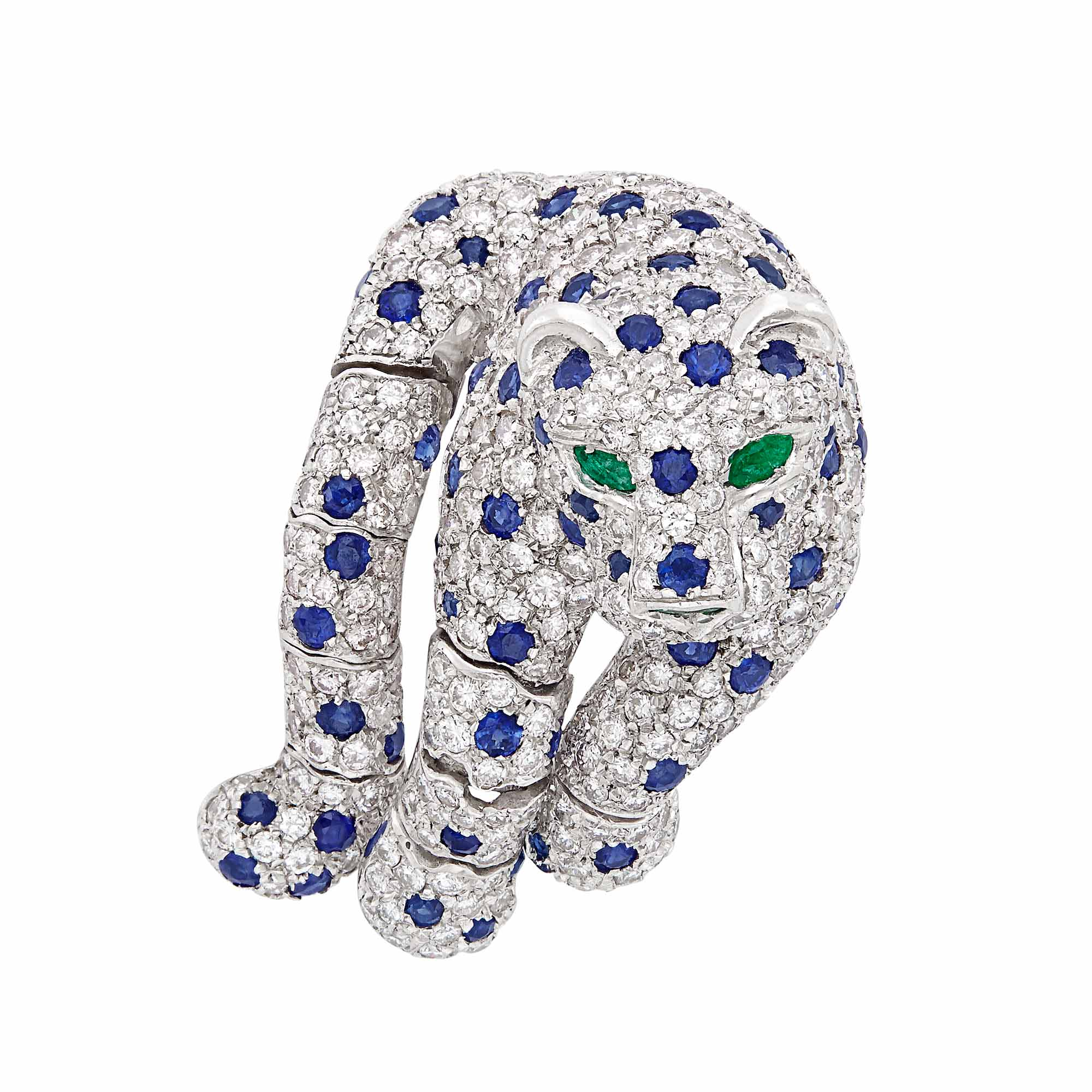 Lot image - Platinum, Diamond, Sapphire and Emerald Leopard Clip-Brooch