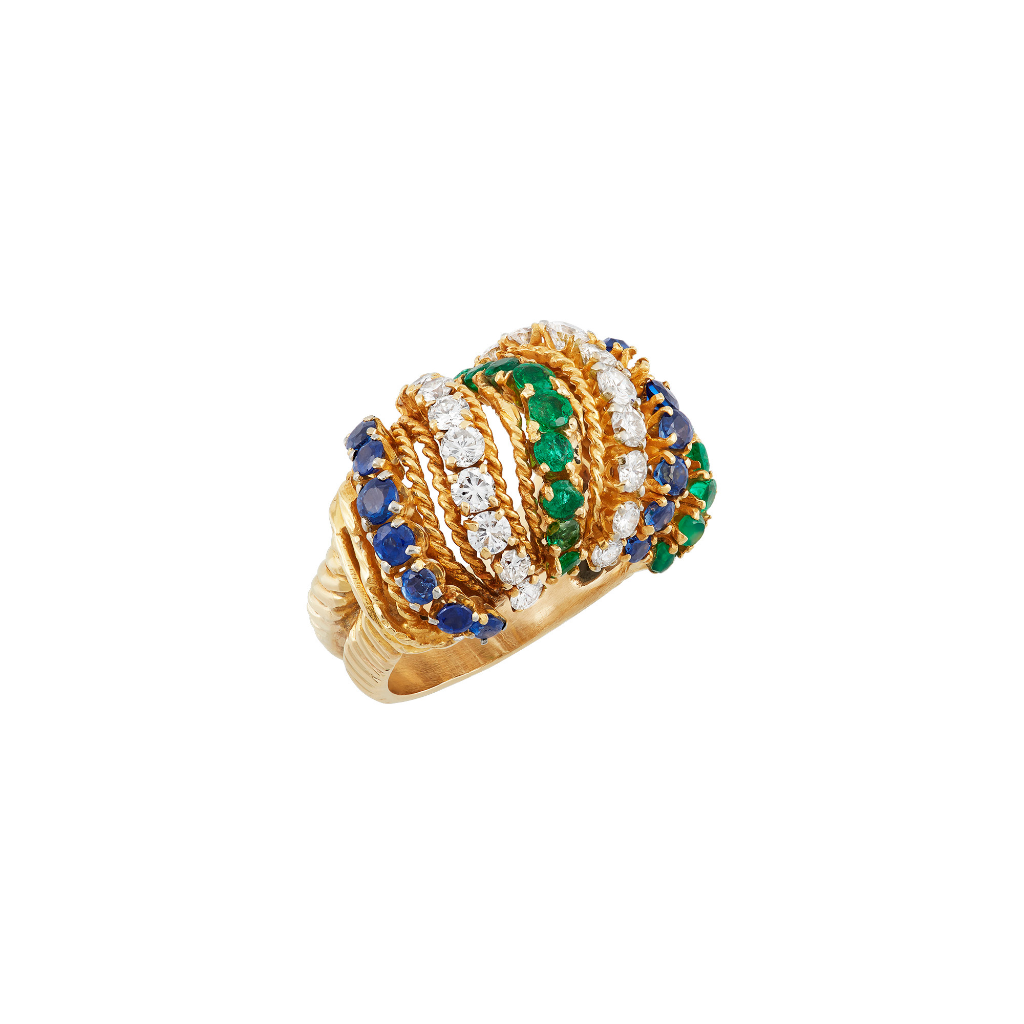 Lot image - Gold, Diamond, Emerald and Sapphire Ring
