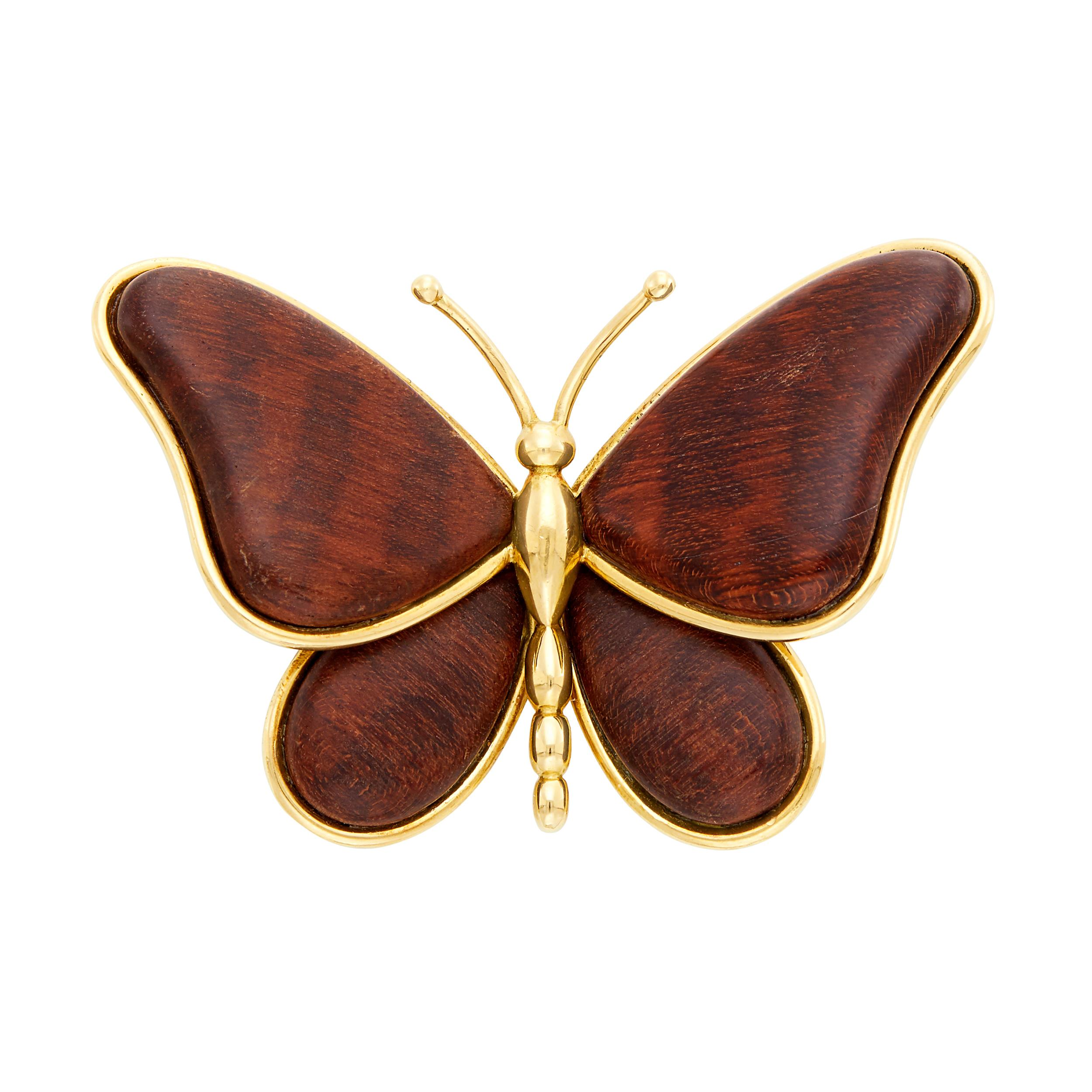 Lot image - Van Cleef & Arpels Gold and Wood Butterfly Clip-Brooch, France