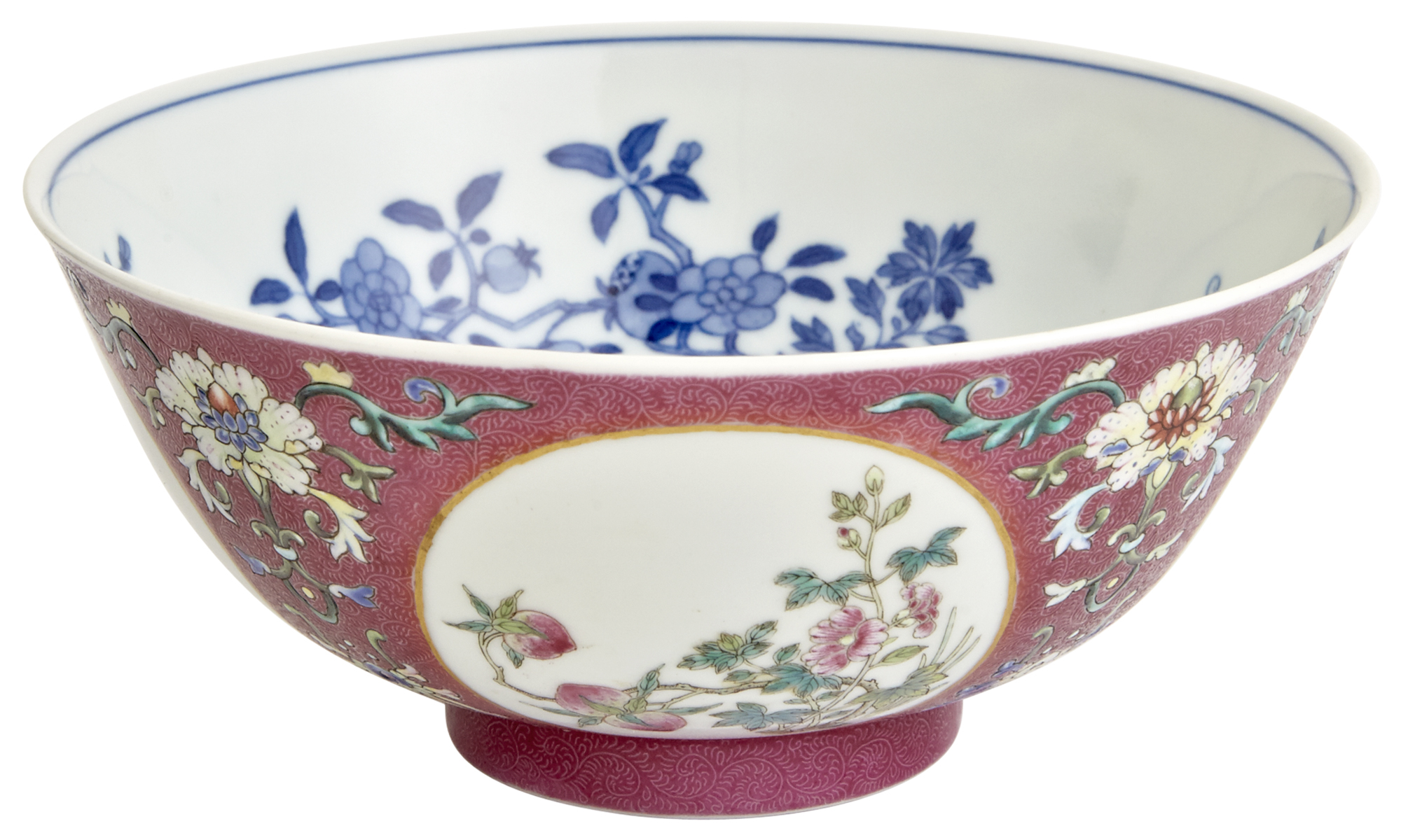 Lot image - A Fine Chinese Imperial Sgraffiato Enameled Porcelain Medallion Bowl