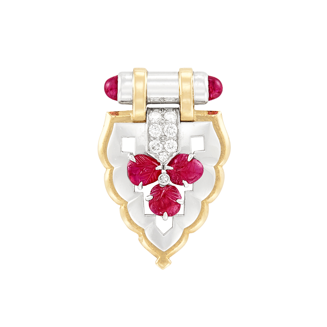 Lot image - Art Deco Platinum, Gold, Ruby and Diamond Clip-Brooch, Charleton