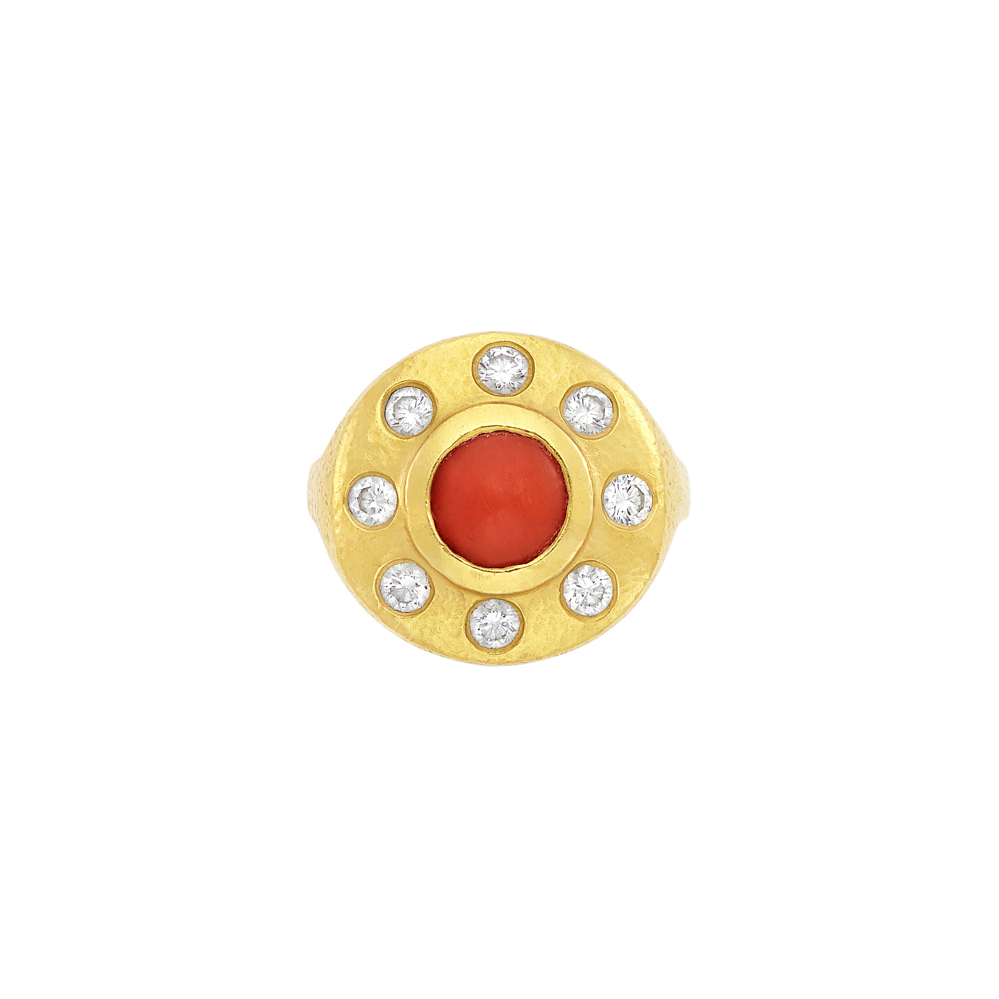 Lot image - High Karat Gold, Coral and Diamond Sand Dollar Ring, by Linda Lee Johnson