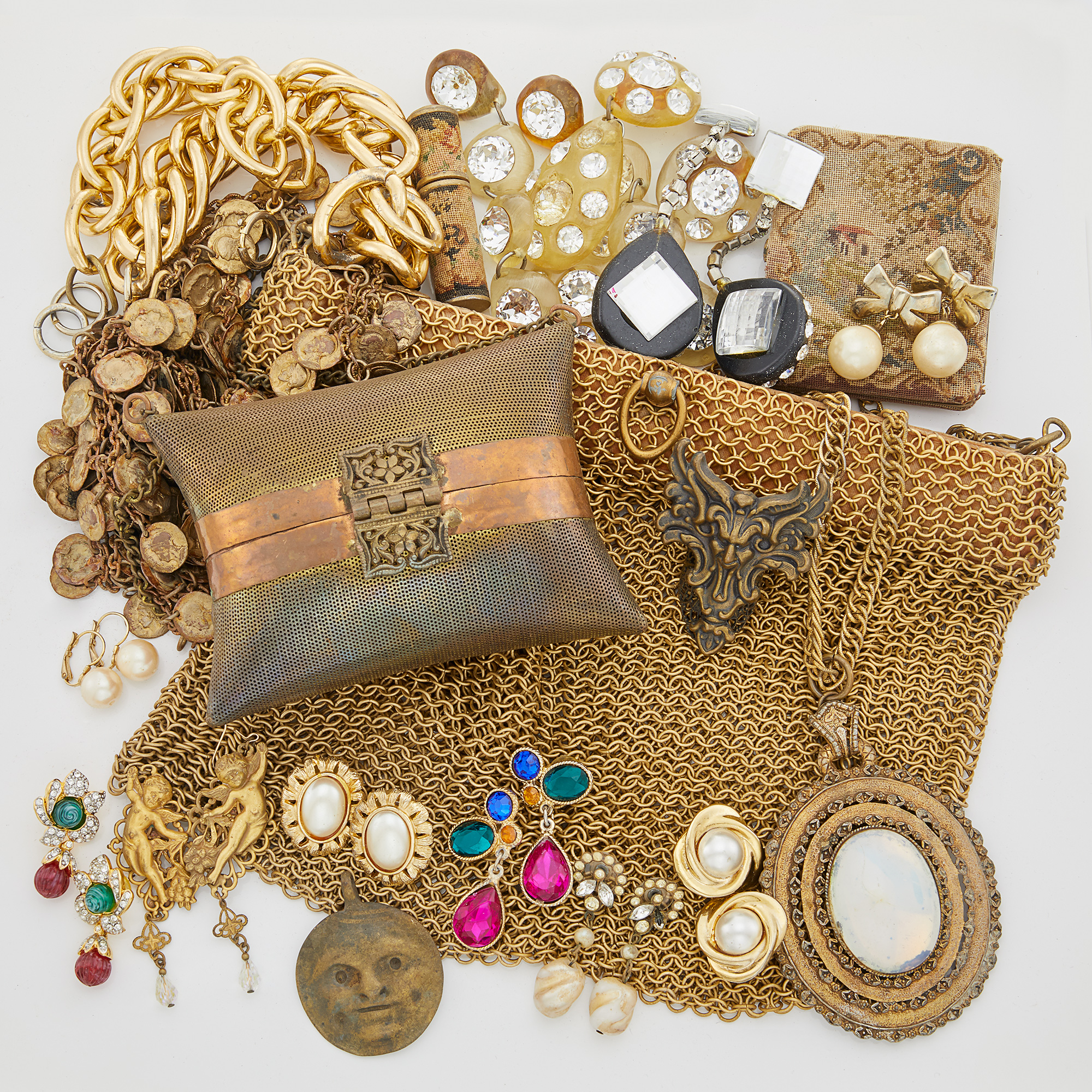 Lot image - [MILES, SYLVIA]  Group of costume jewelry.