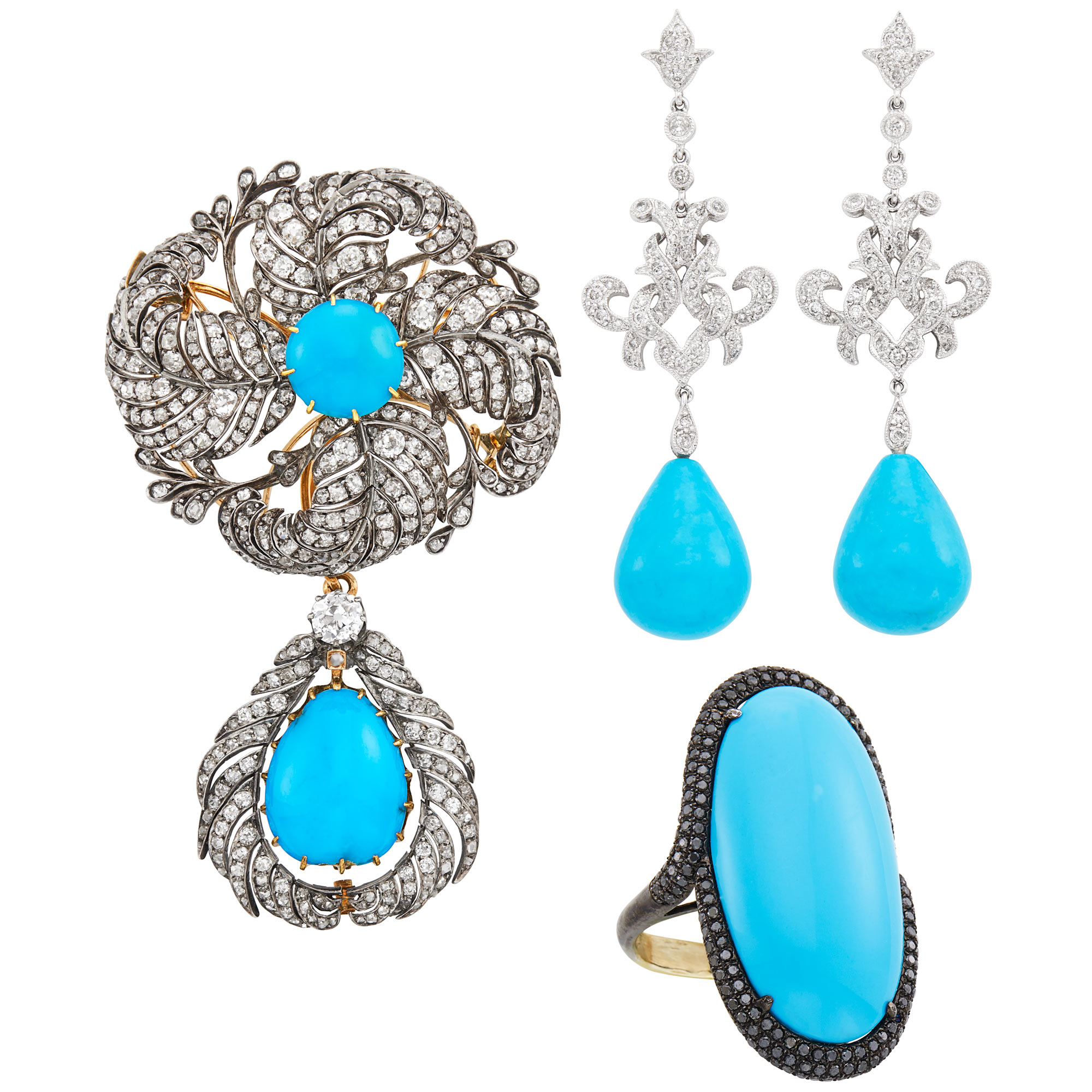 Lot image - Group of Silver, White and Blackened Gold, Reconstituted Turquoise, Diamond and Black Diamond Jewelry