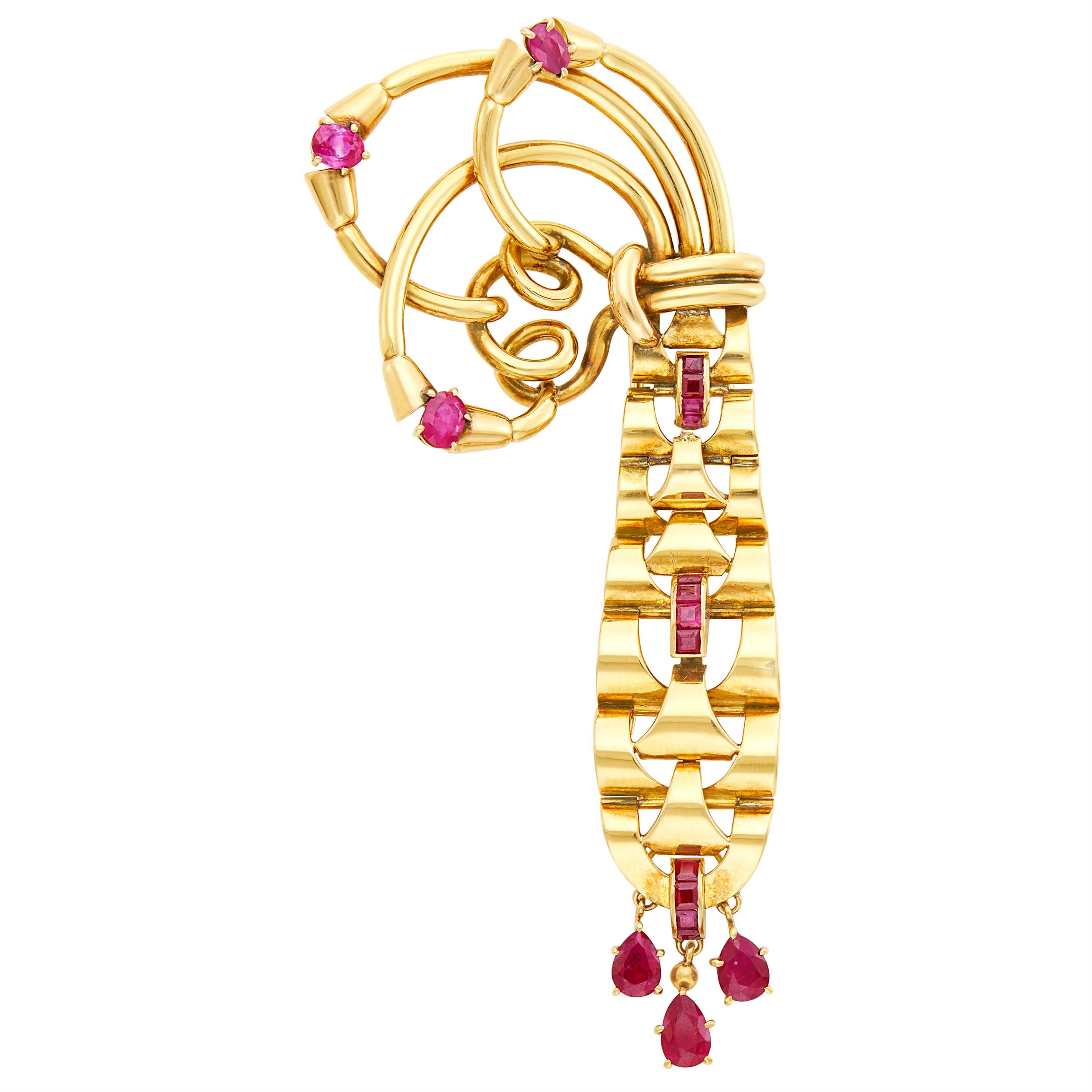 Lot image - Mellerio Gold and Ruby Clip, France