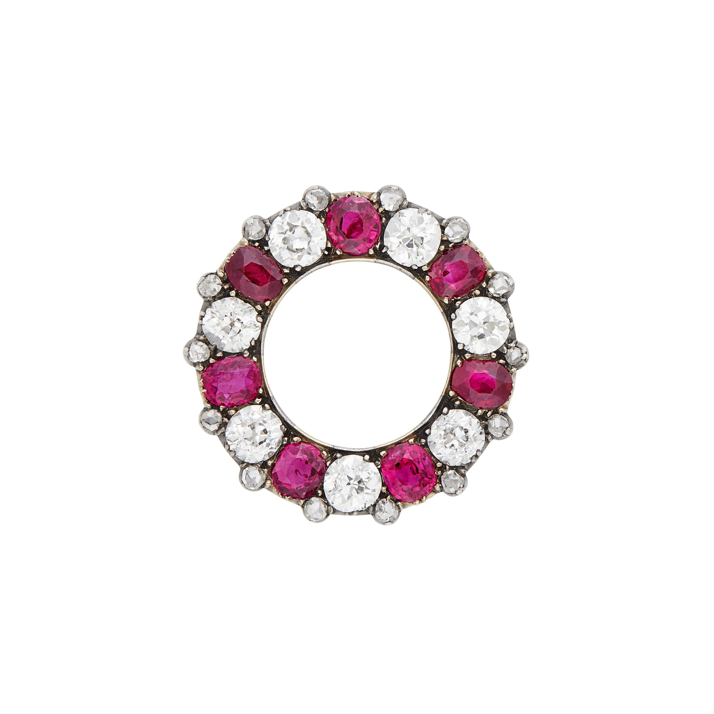 Lot image - Antique Silver, Gold, Ruby and Diamond Circle Brooch, France