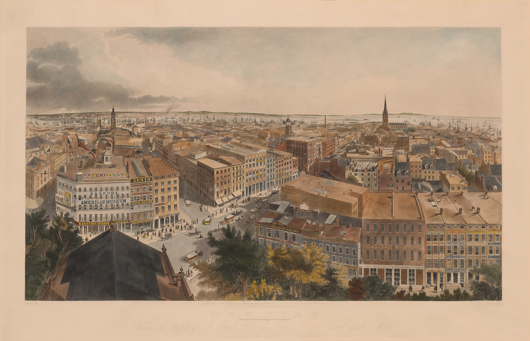 Lot image - HILL, JOHN WILLIAM (after)  New York. With the City of Brooklyn in the Distance. From the Steeple of St. Pauls Church looking East, South and West.