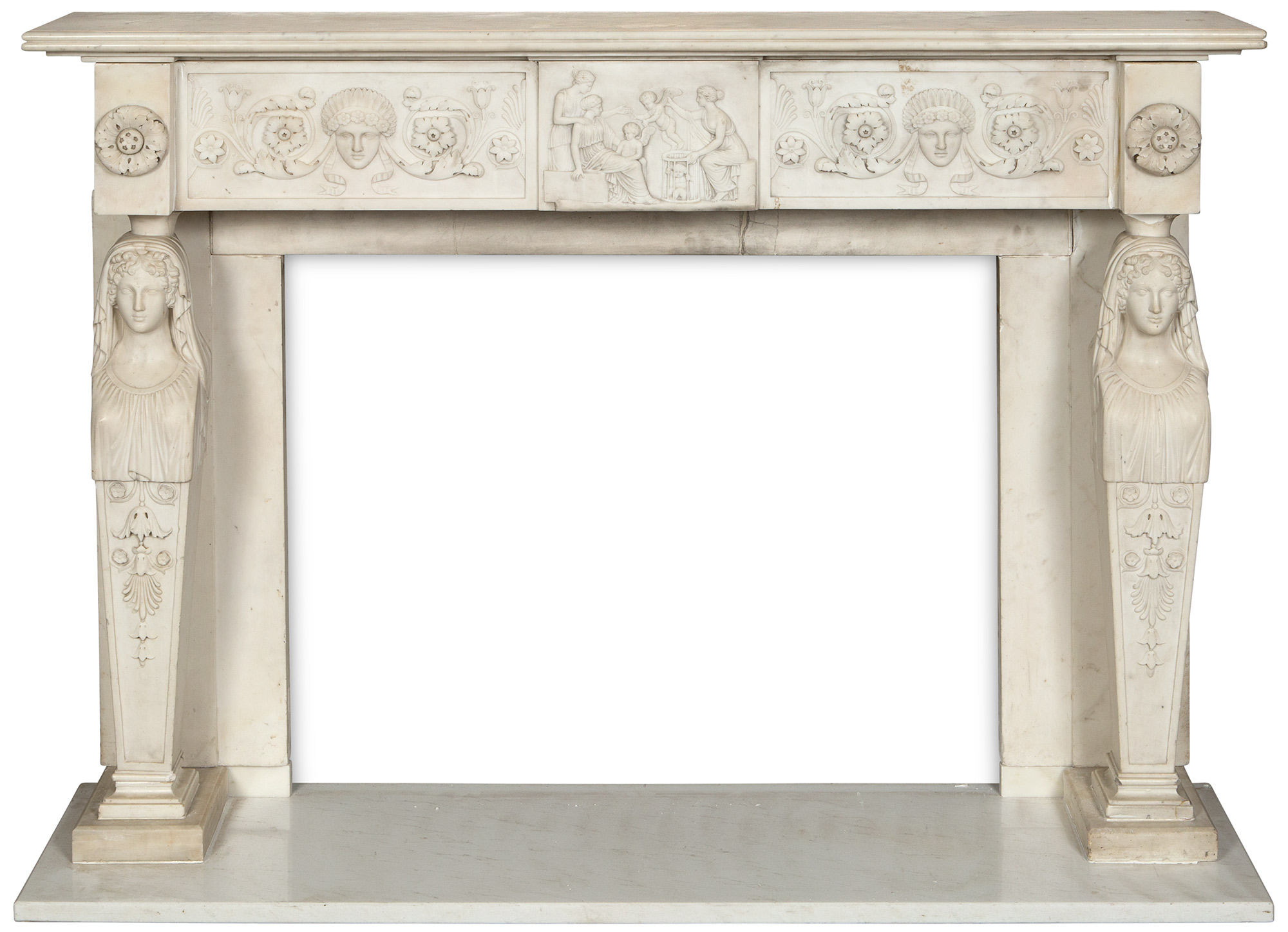 Lot image - George IV White Statuary Marble Fireplace Surround