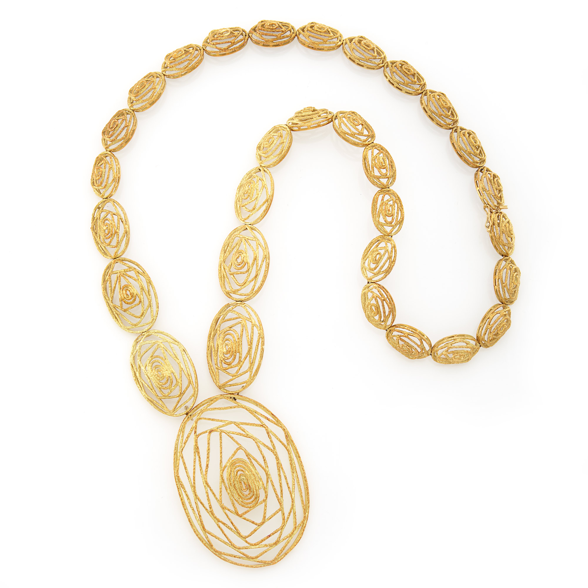 Lot image - Long Abstract Gold Pendant-Necklace