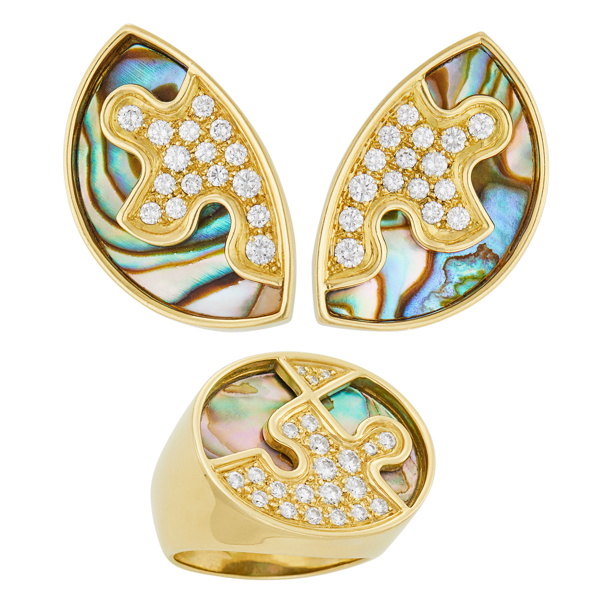 Lot image - Gubelin Pair of Gold, Abalone Shell and Diamond Earclips and Ring