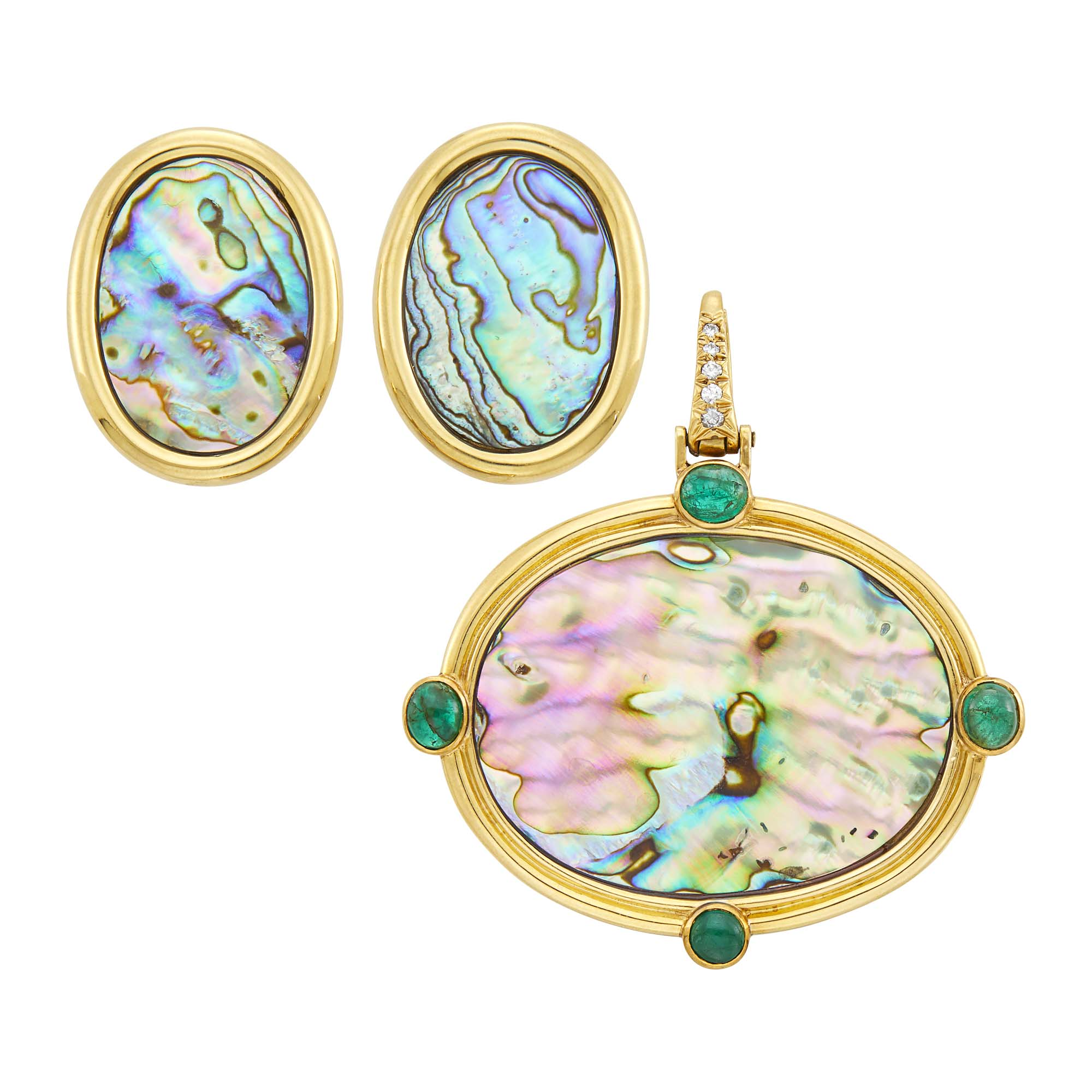 Lot image - Andrew Clunn Pair of Gold and Abalone Shell Earclips and Gold, Abalone Shell, Cabochon Emerald and Diamond Enhancer