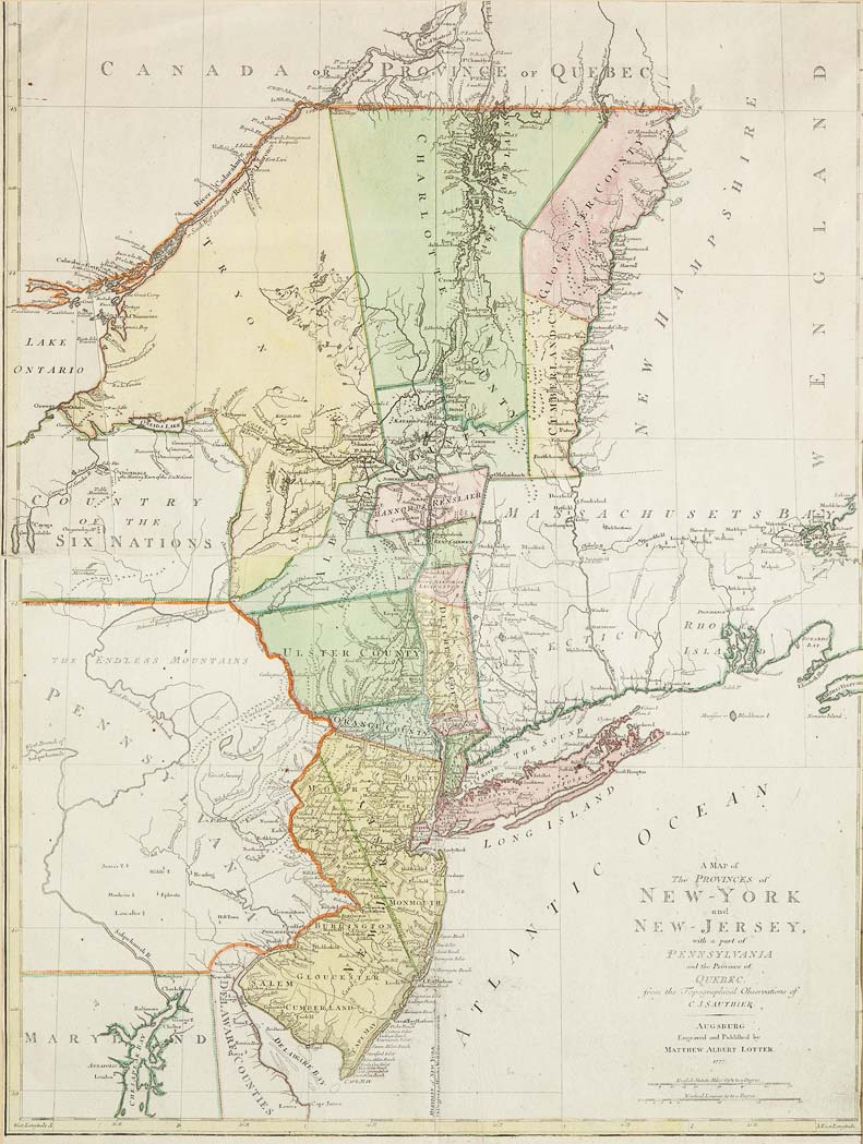 Lot image - [AMERICAN REVOLUTION]  LOTTER, MATTHEW ALBERT. A Map of the Provinces of New-York and New-Jersey, with a part of Pennsylvania and the Province of Quebec.