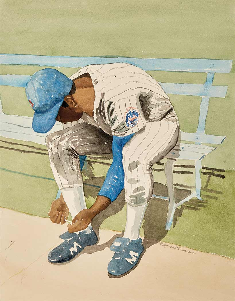 Lot image - New York Mets  Large group of approximately twenty original watercolors by artist Raymond Davidson