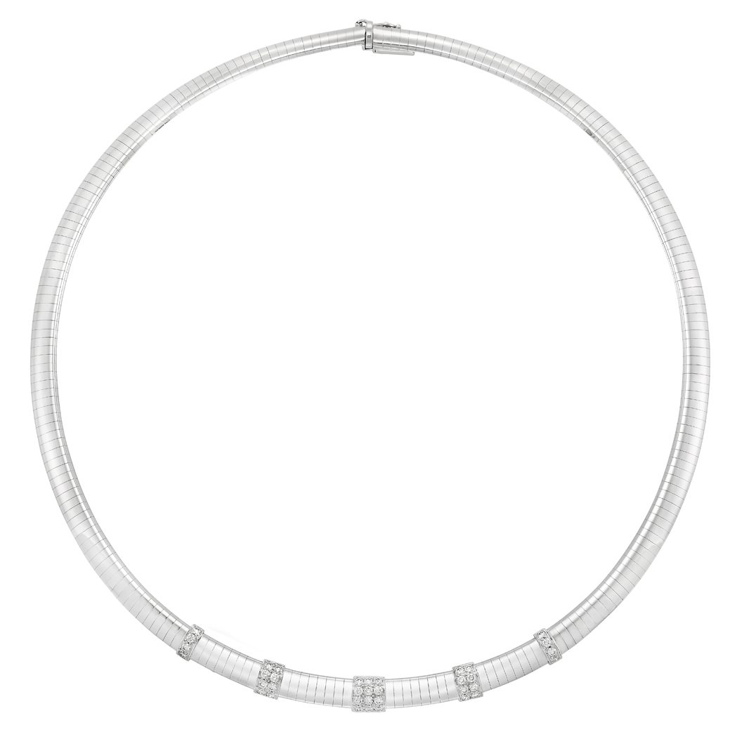 Lot image - White Gold and Diamond Necklace, Van Cleef & Arpels, France