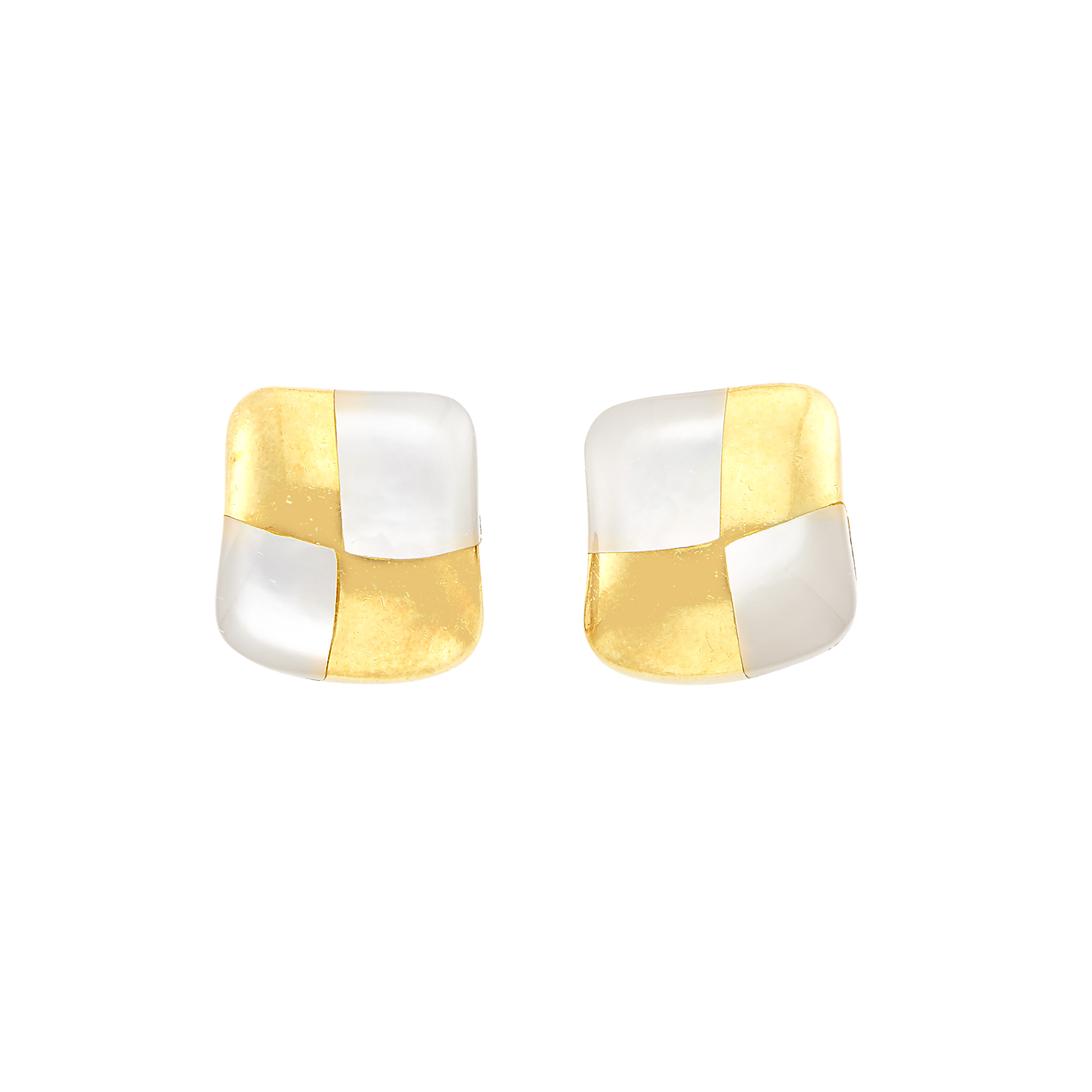 Lot image - Pair of Gold and Mother-of-Pearl Earrings, Angela Cummings