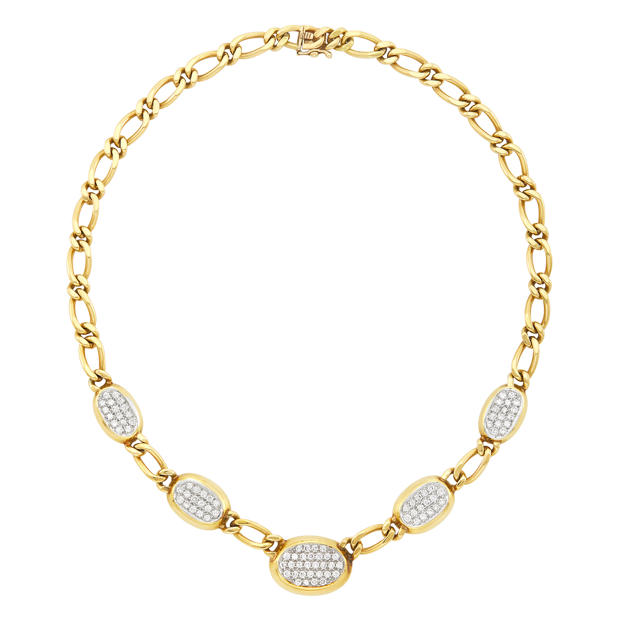Lot image - Two-Color Gold and Diamond Link Necklace