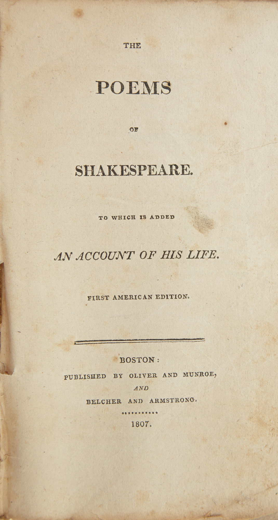 Lot image - SHAKESPEARE, WILLIAM  The Poems of Shakespeare. To which is added an account of his life.