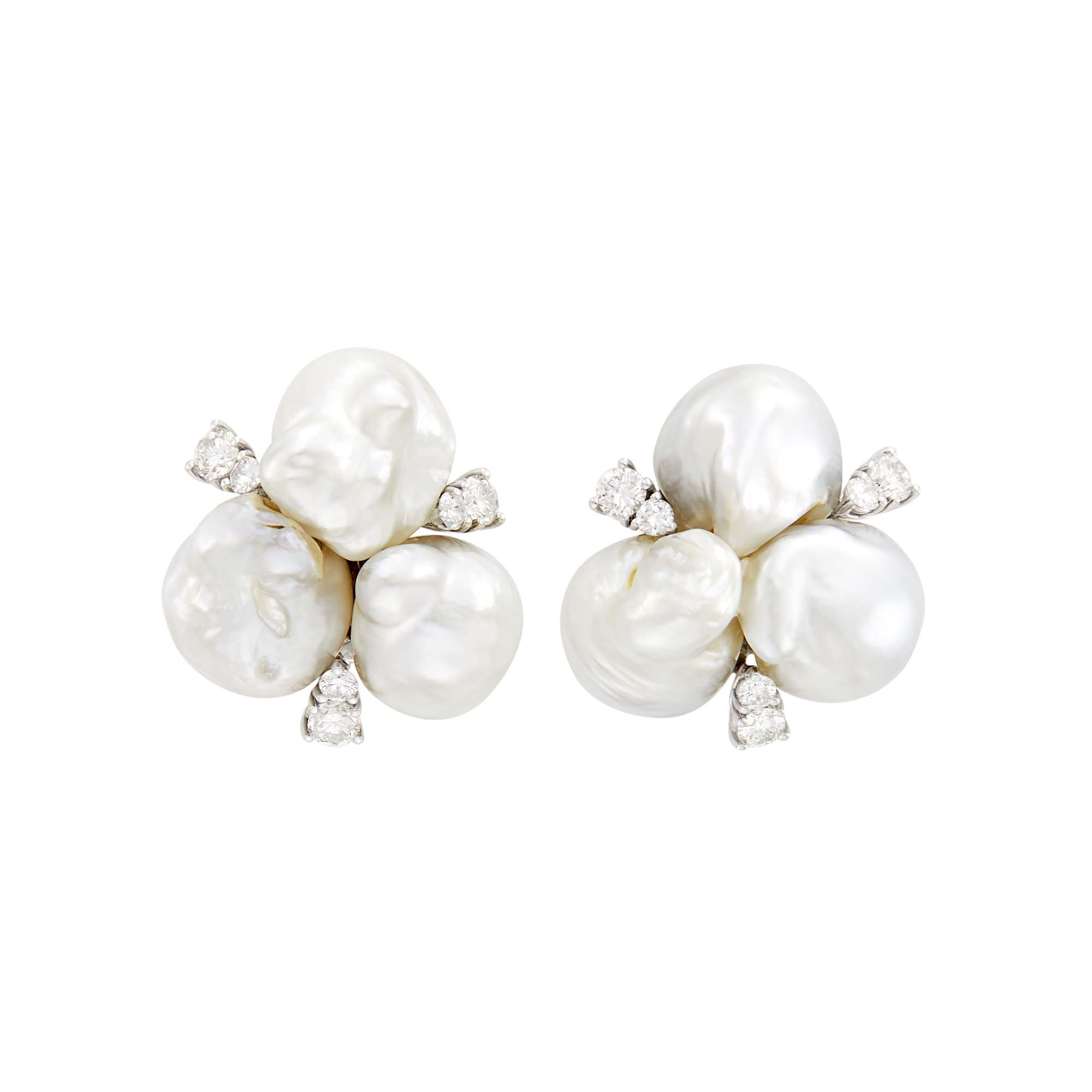 Lot image - Seaman Schepps Pair of White Gold, Baroque Cultured Pearl and Diamond Earclips