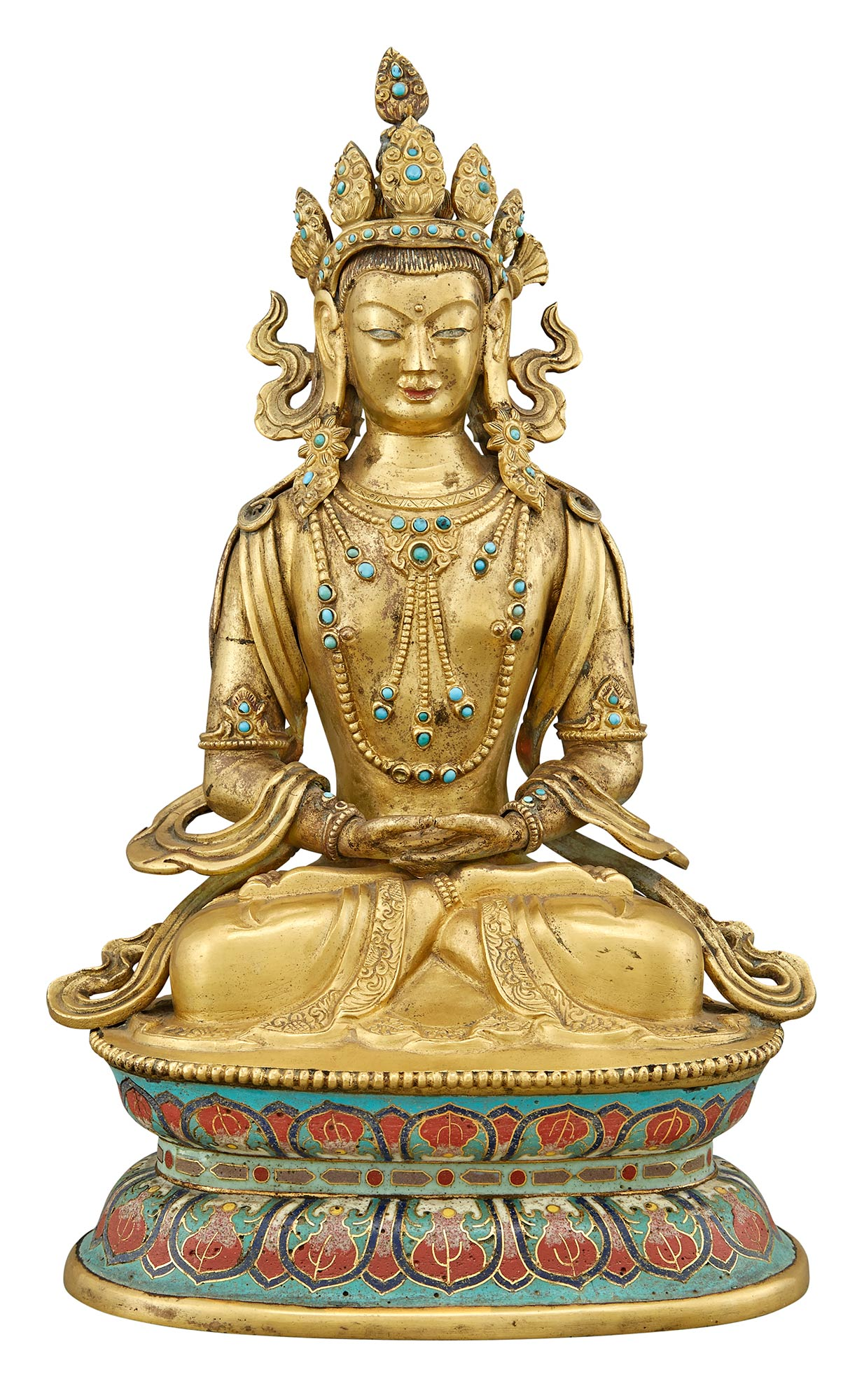 Lot image - Chinese Gilt-Bronze Figure of Seated Tara